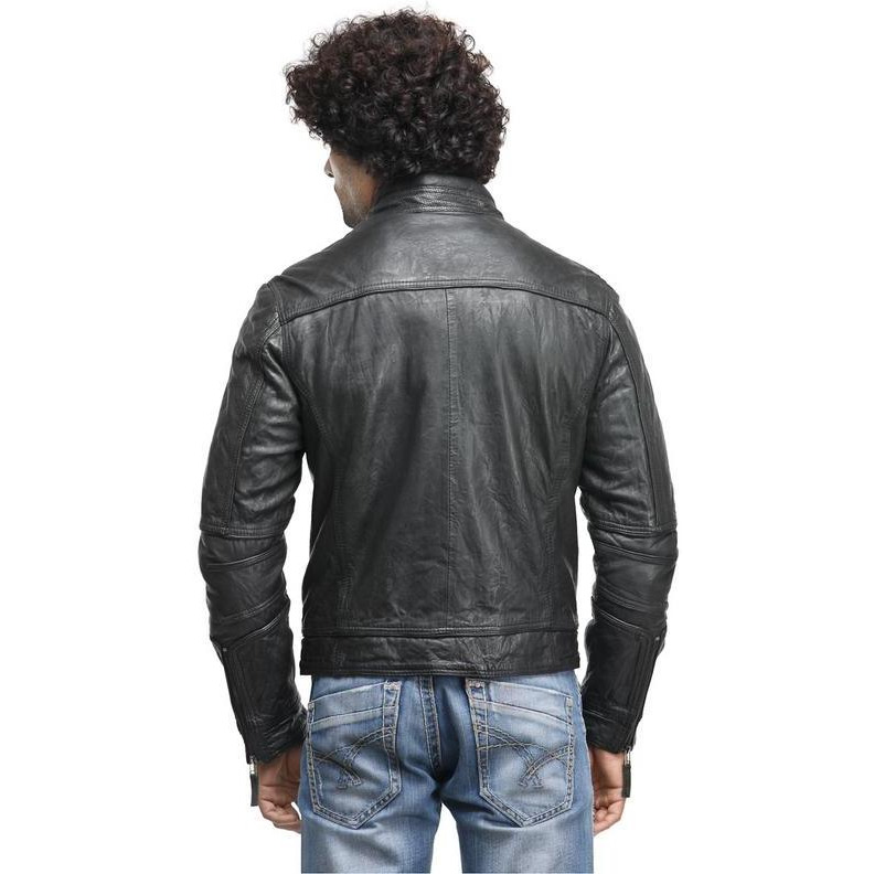 Teakwood Black Solid Leather Jacket