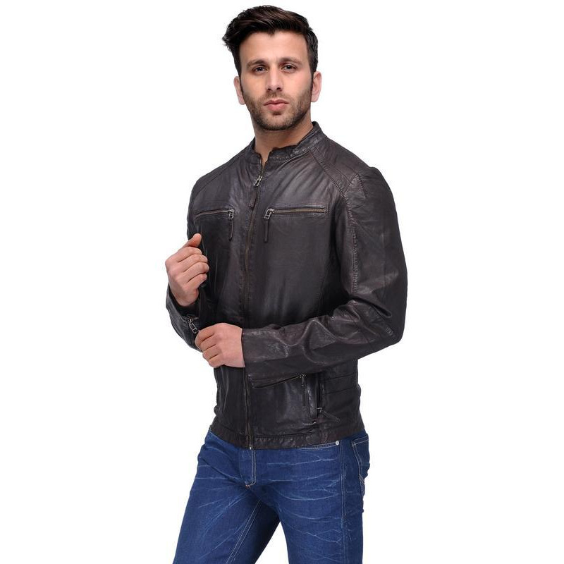 Teakwood Brown Solid Leather Jacket (Size:M)