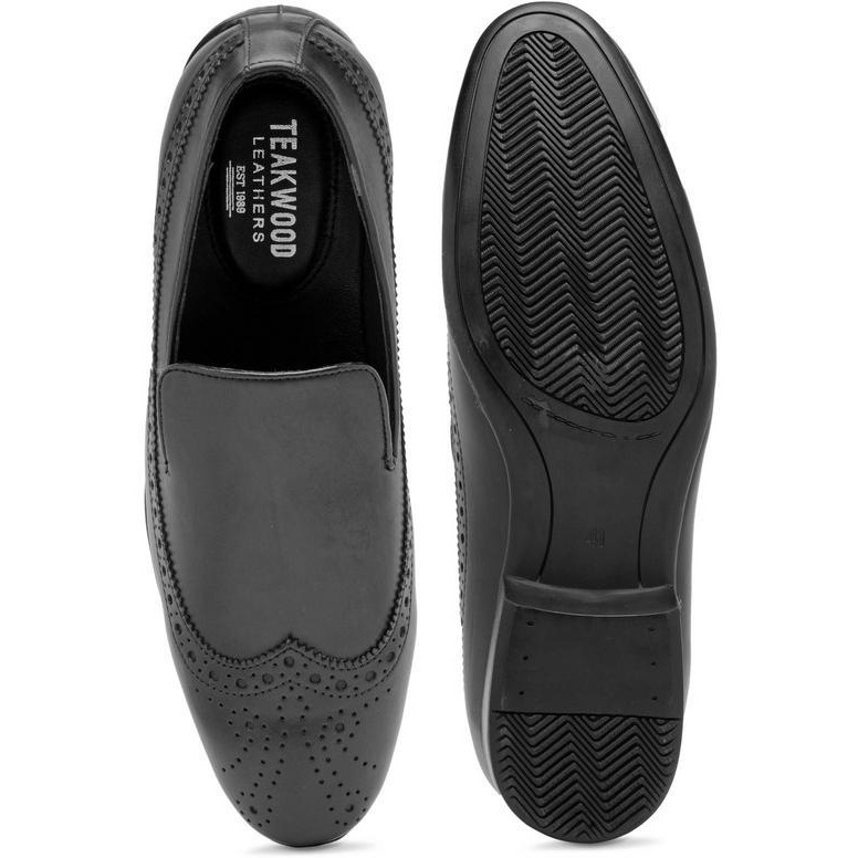 Teakwood Leather Black Formal Shoes (Size:42)