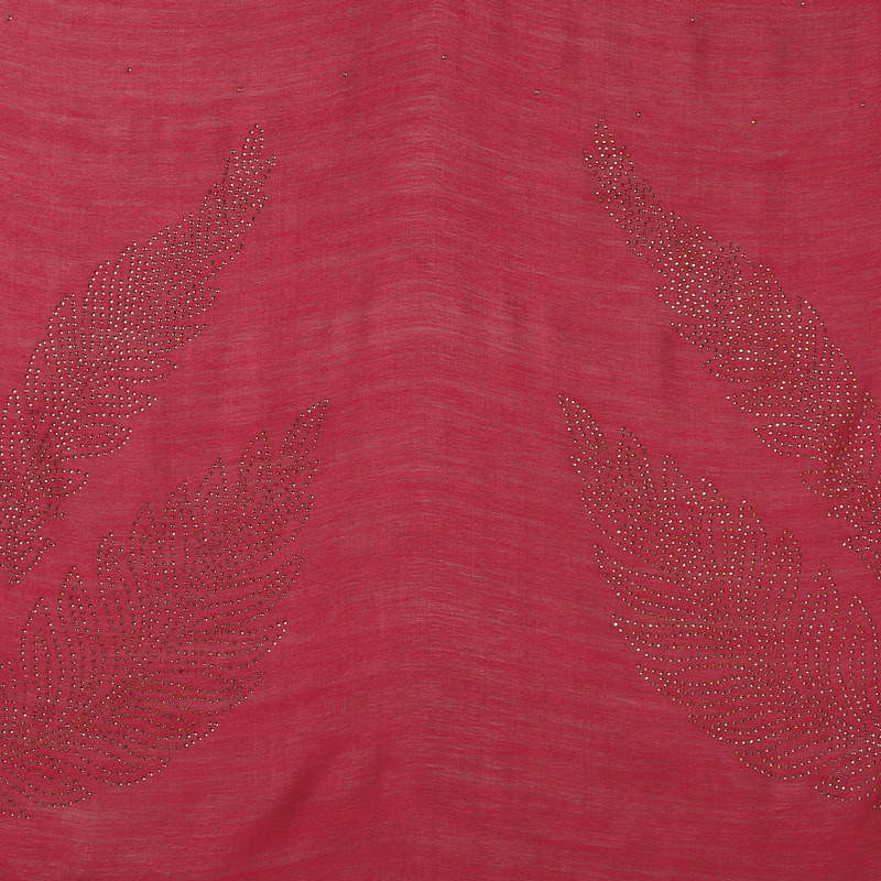 Punch Pink Crystal Leaves Pure Wool Stole