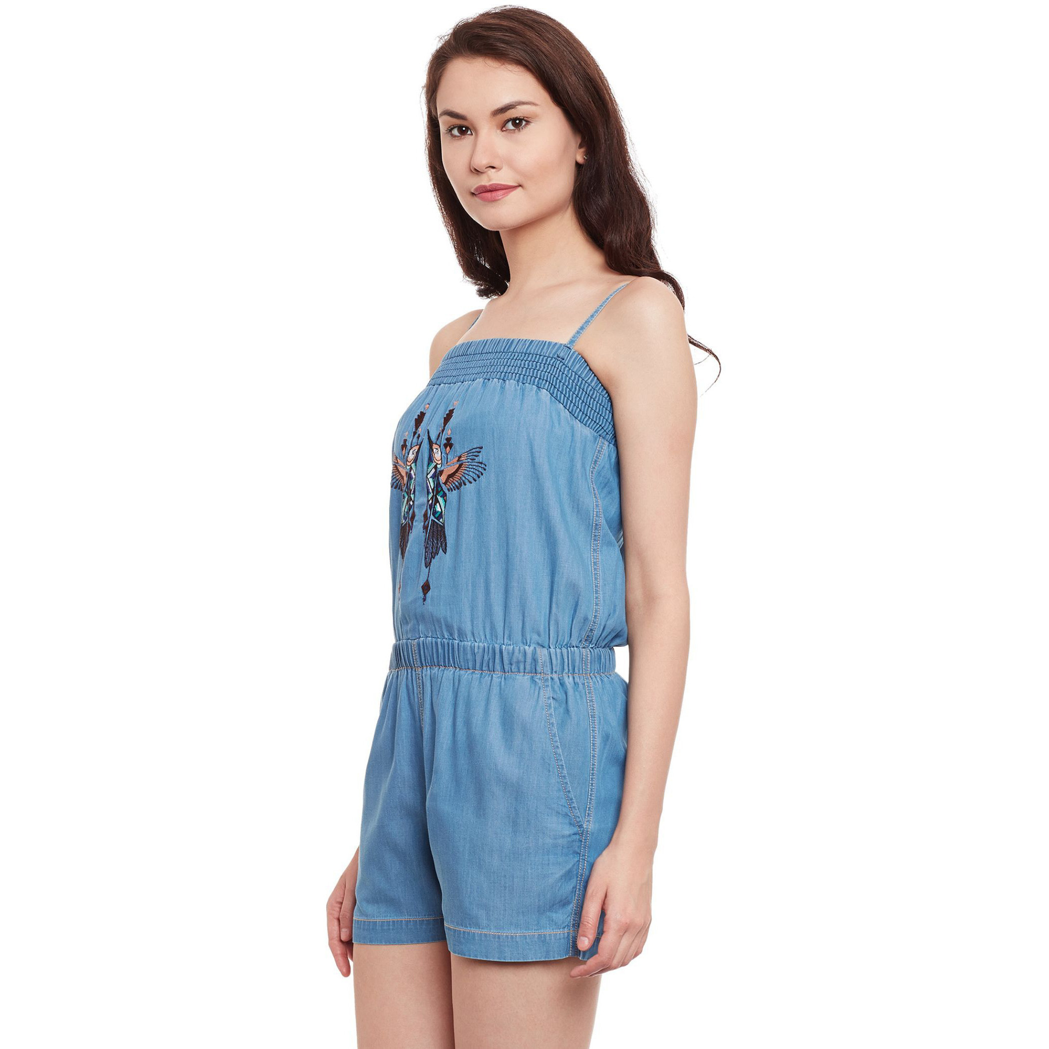 Denim Romper With Adjustable Straps And Front Embroidery In Light Wash