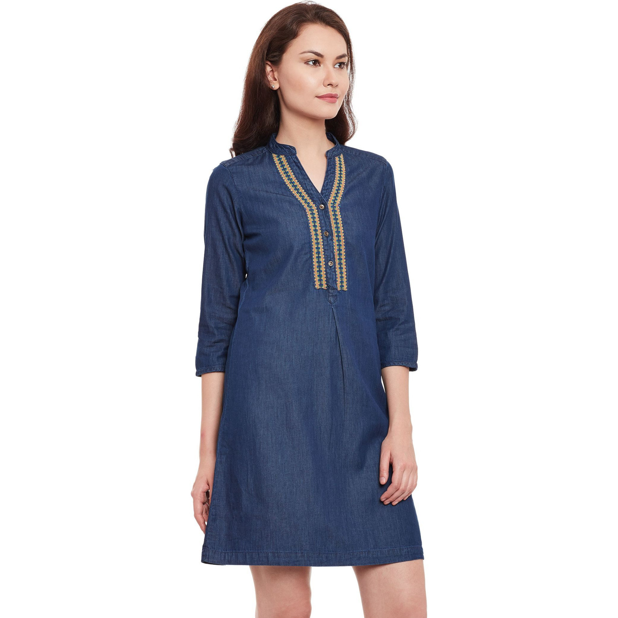 Denim Dark Wash Tunic With 3/4Th Sleeves And Embroidery Around  Slim Collar Placket (Size:L)