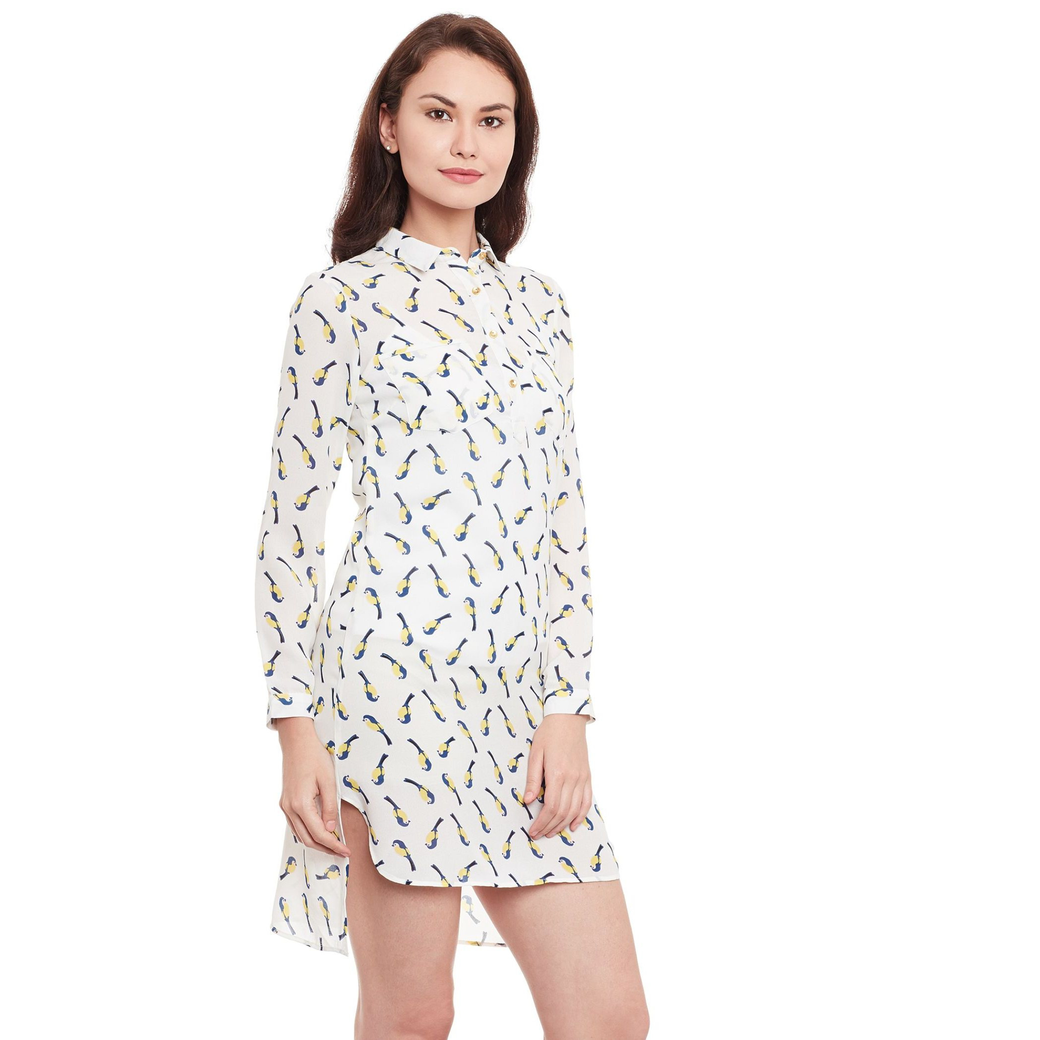 The Vanca Off-White Printed Dress (Size:S)