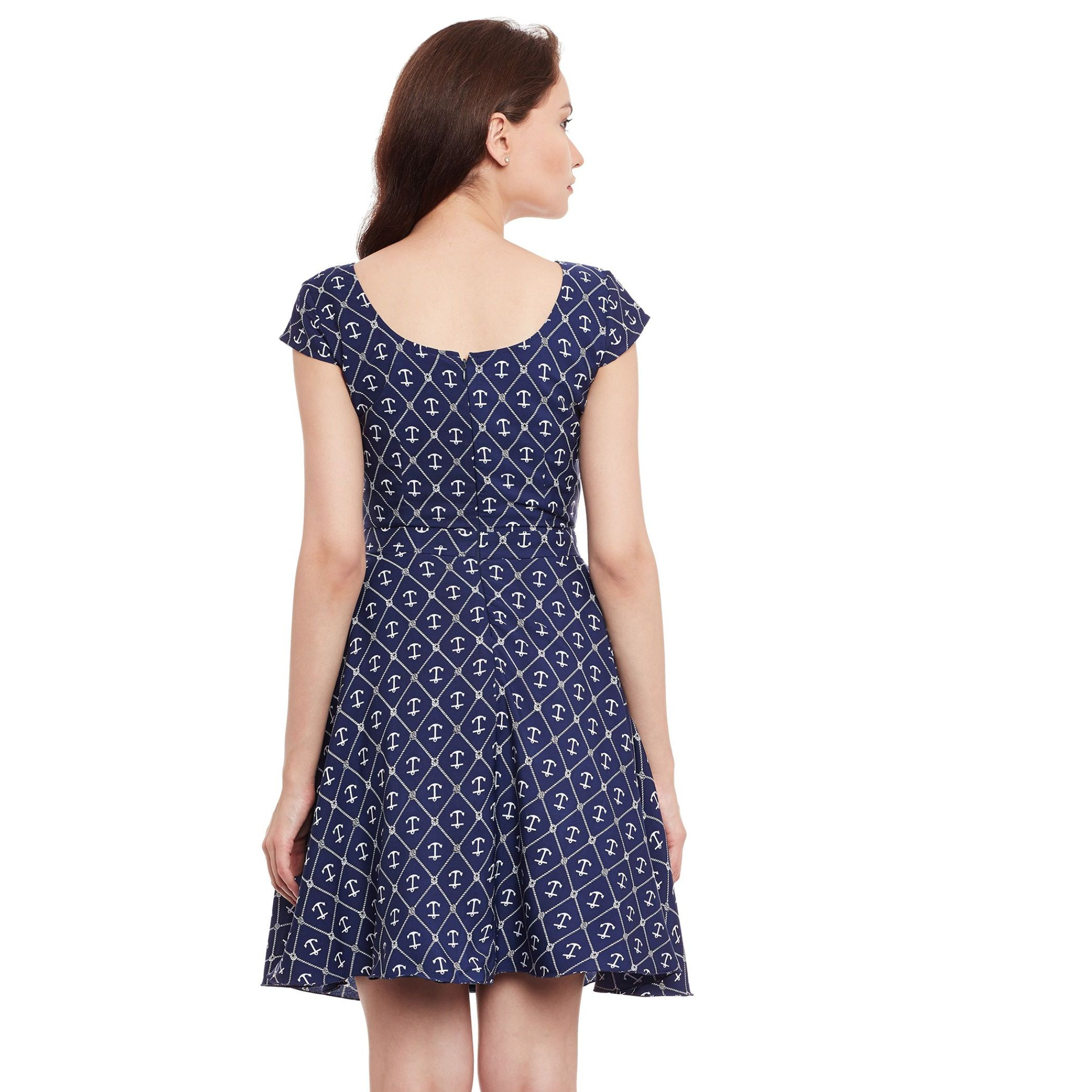 The Vanca Navy Nautical Print Fit & Flare Dress (Size:L)