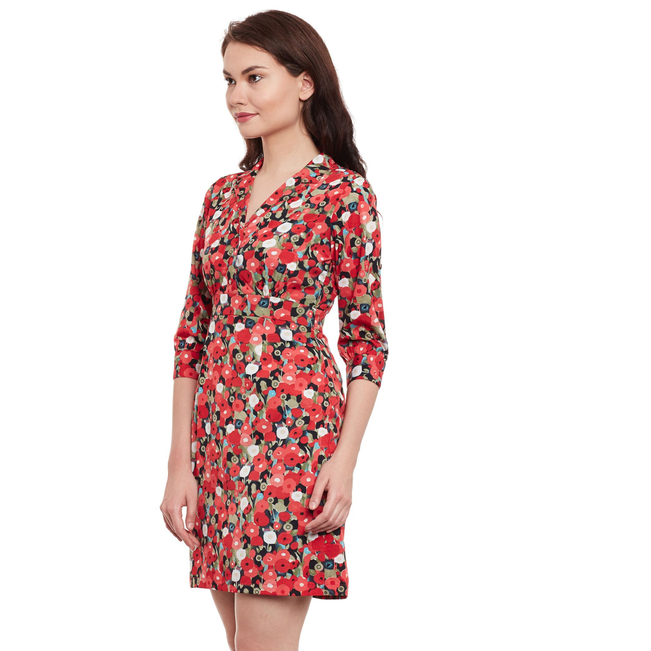 The Vanca Red Printed Bodycon Dress (Size:M)