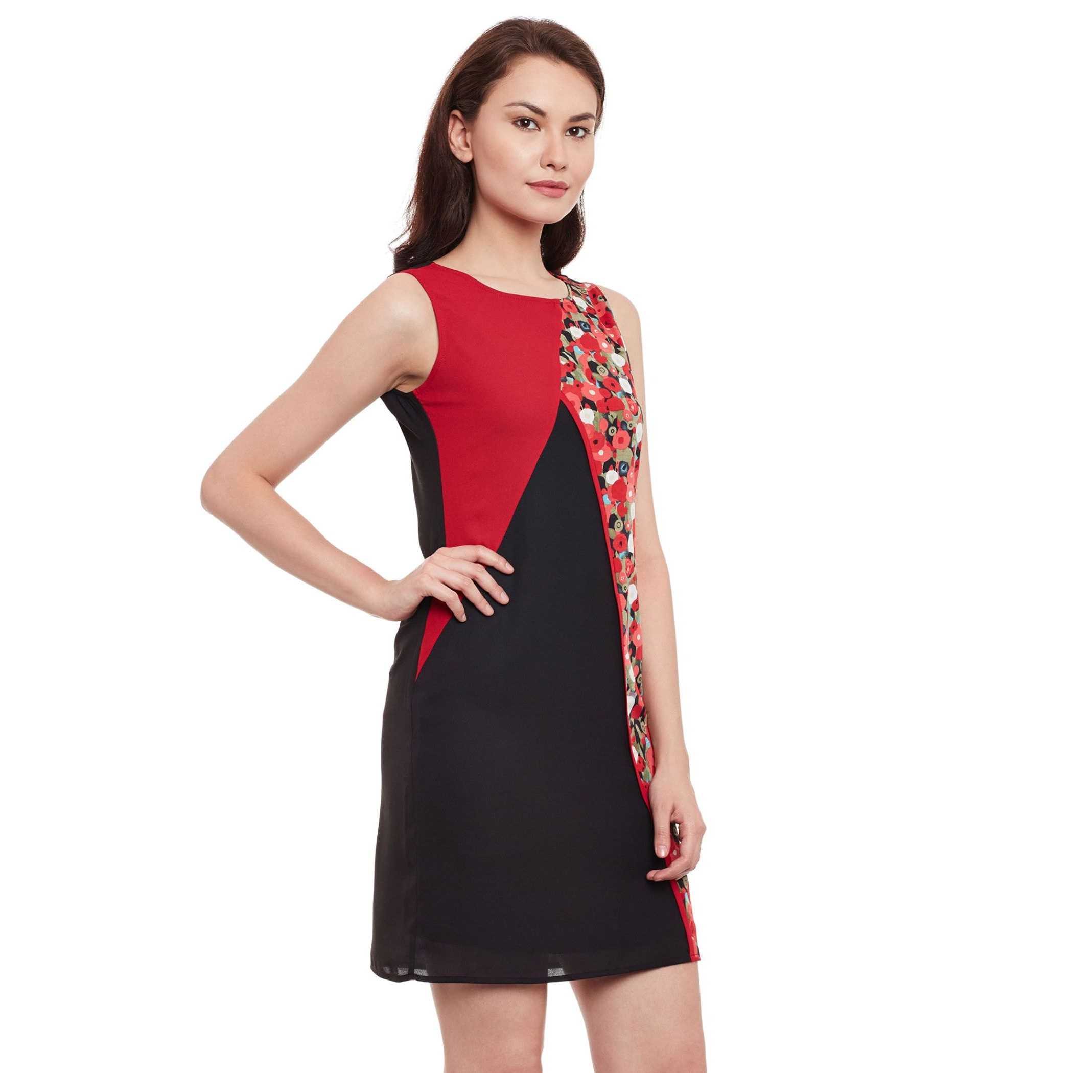 The Vanca Red & Black Bodycon Dress (Size:L)