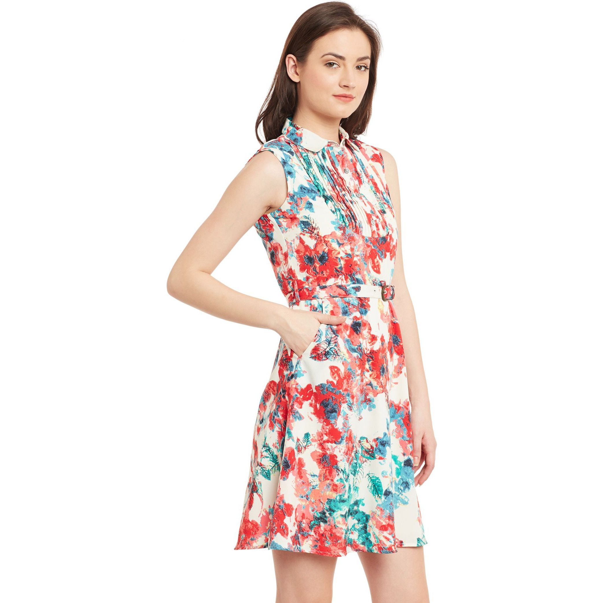 The Vanca Off-White Printed Fit & Flare Dress With Belt (Size:L)