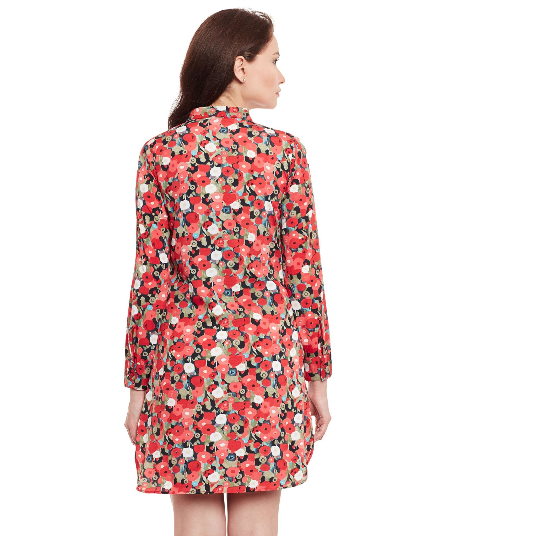The Vanca Red Printed Shirt Dress (Size:M)