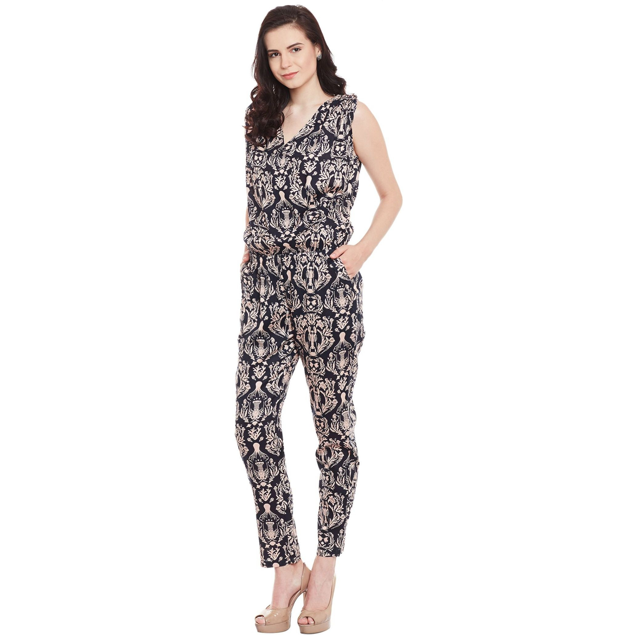 Printed Rayon Sleeveless Wrap Jumpsuit With Gathered Waist (Size:L)
