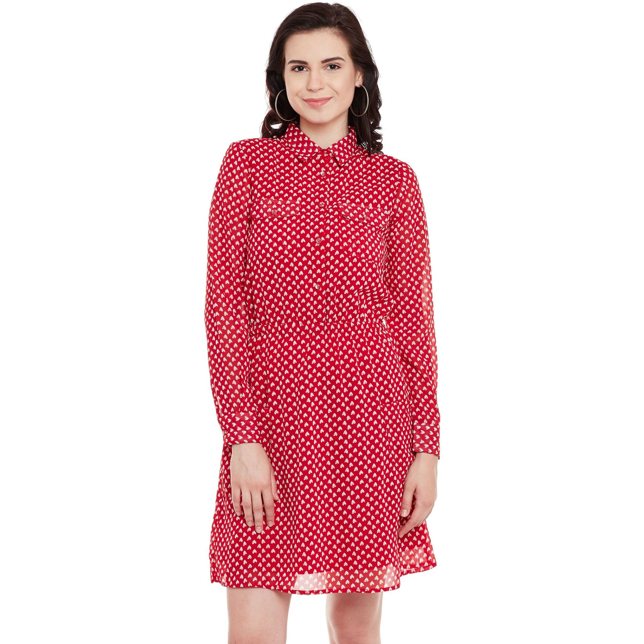 Printed Red Georgette Shirt Dress With Pockets And Gathered Waist (Size:XL)
