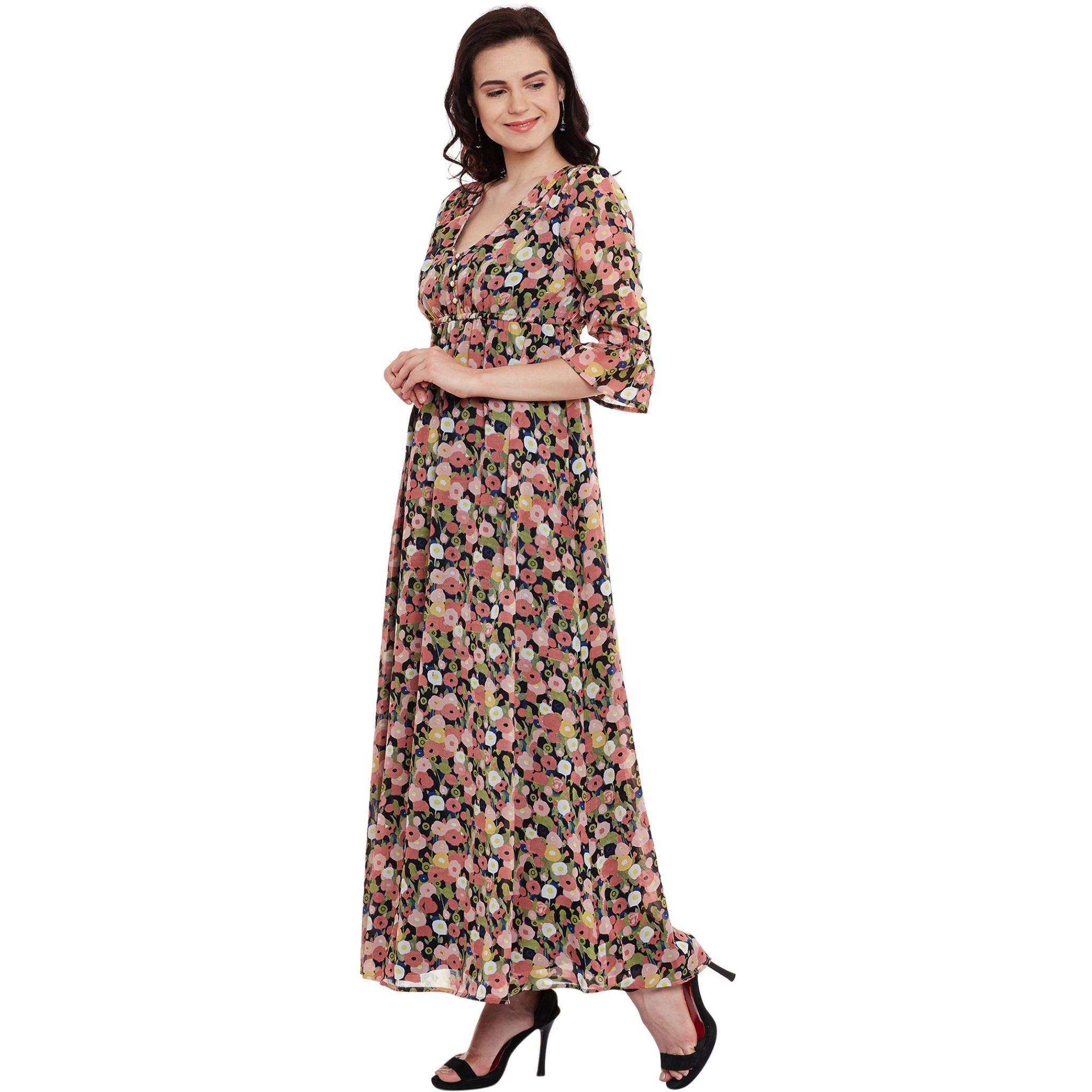 Maxi Dress With 3/4Th Sleeve And V Neckline (Size:M)