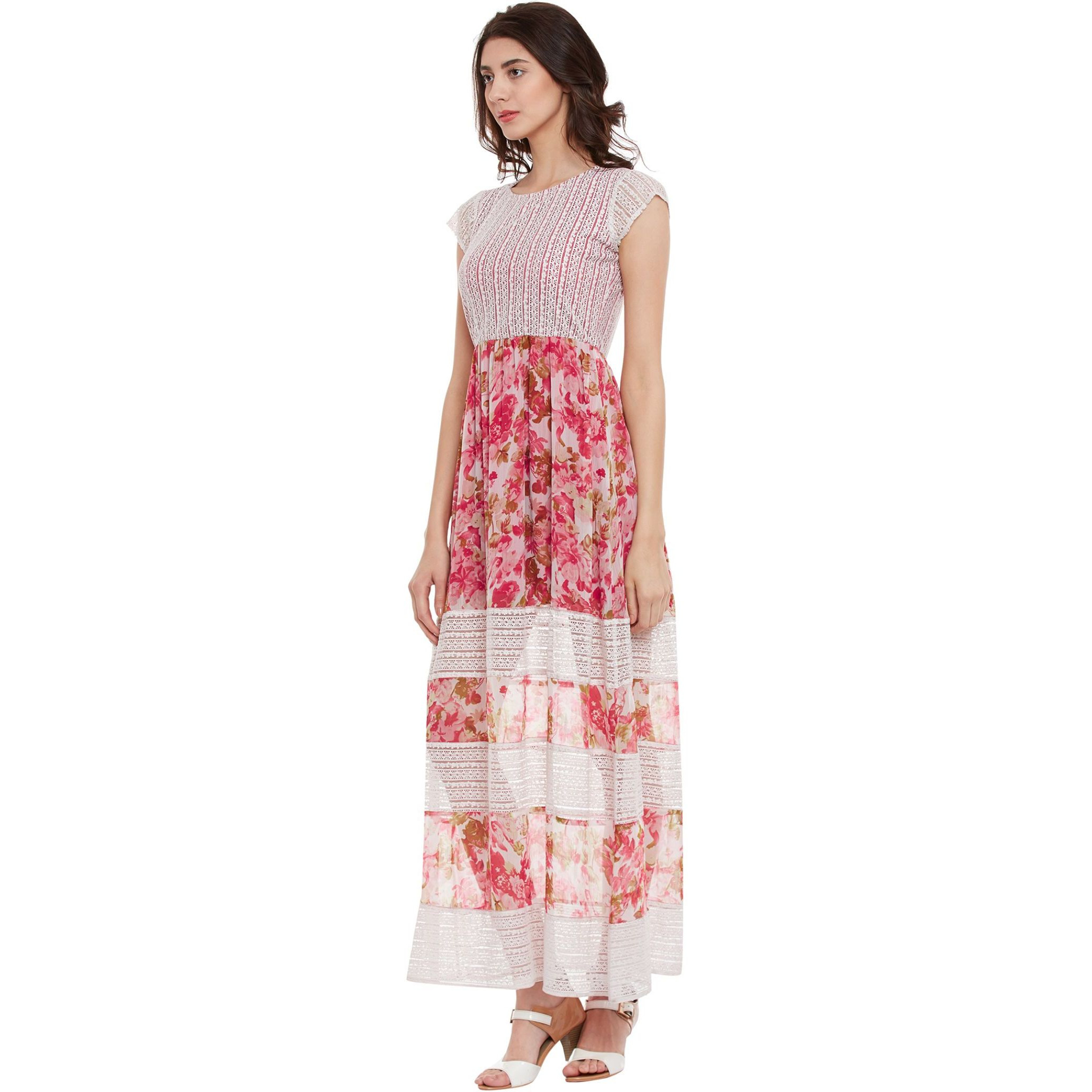 Maxi Dress With Floral Print And Lace Inserts (Size:S)