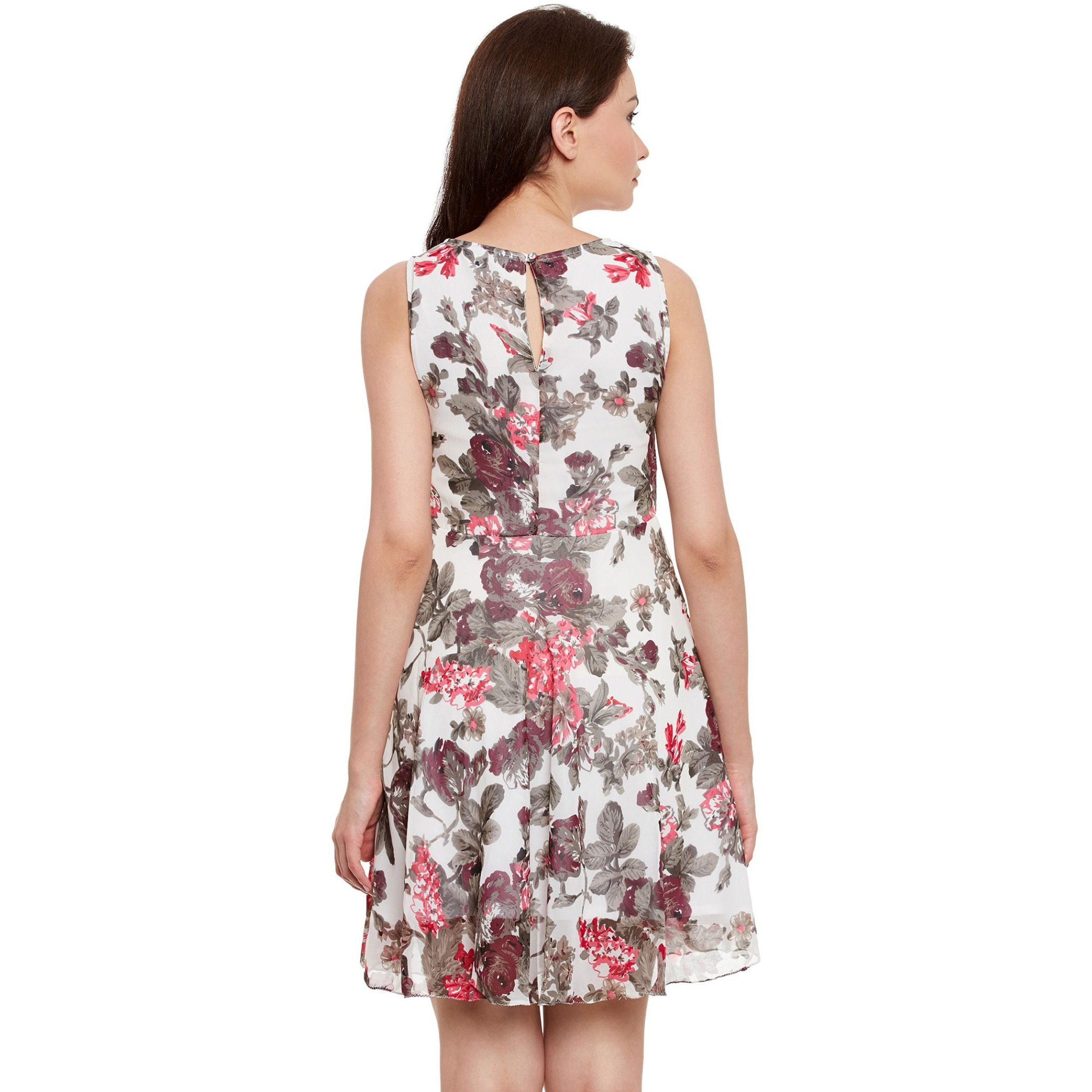 Double Layer Skater Dress In Floral Print With Gathers At Waist (Size:XL)