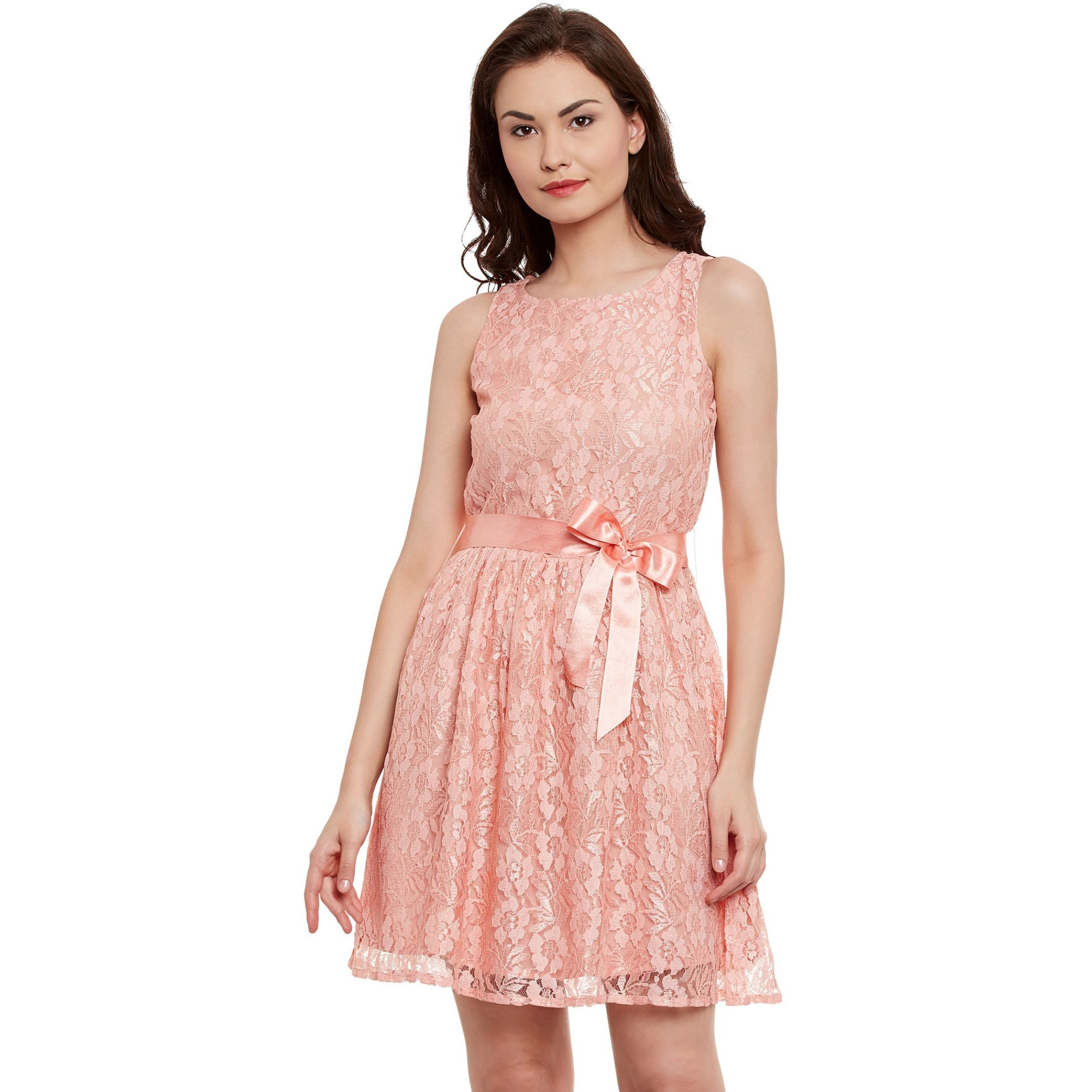 Nylon Lace Dress In Peach Color With Shantoon Lining Size L
