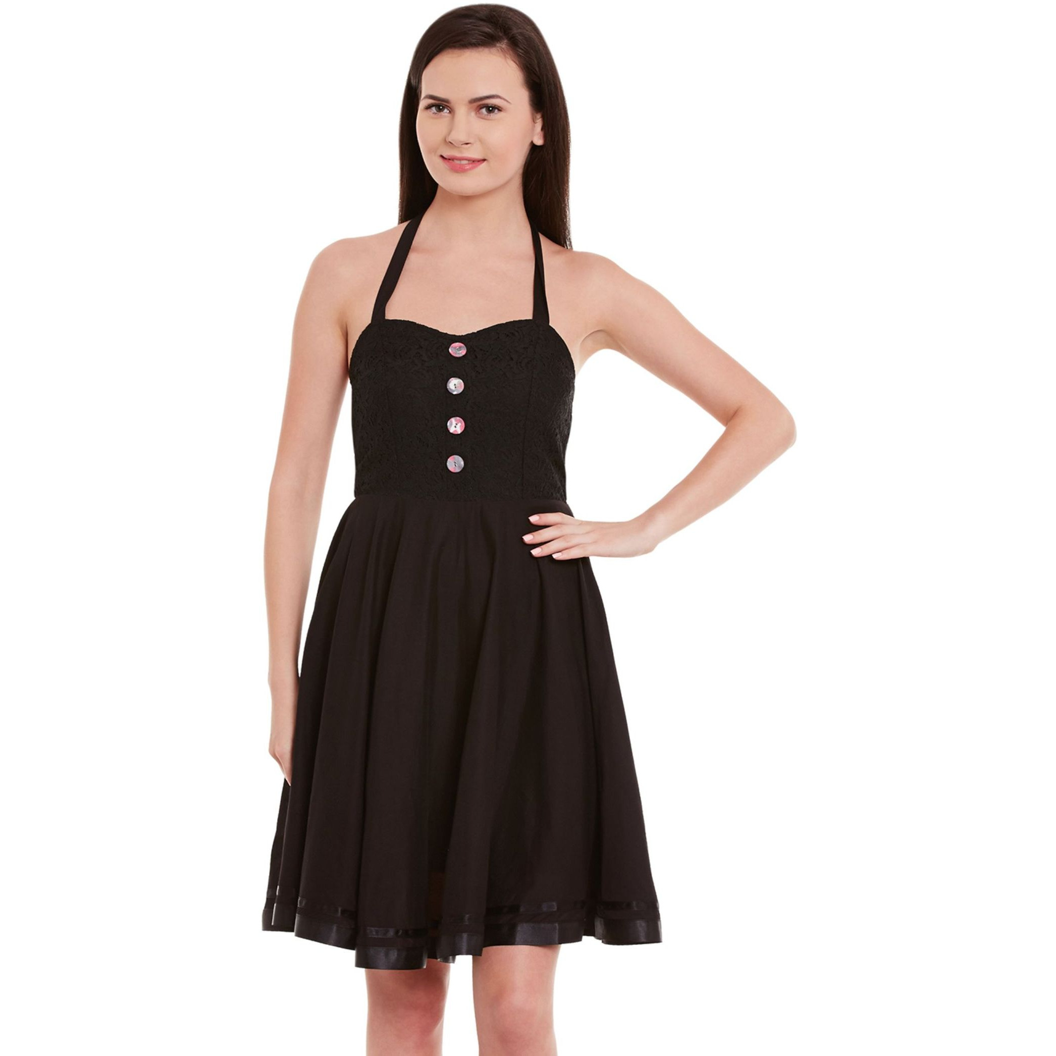 Halter Neck Skater Dress In Black Color