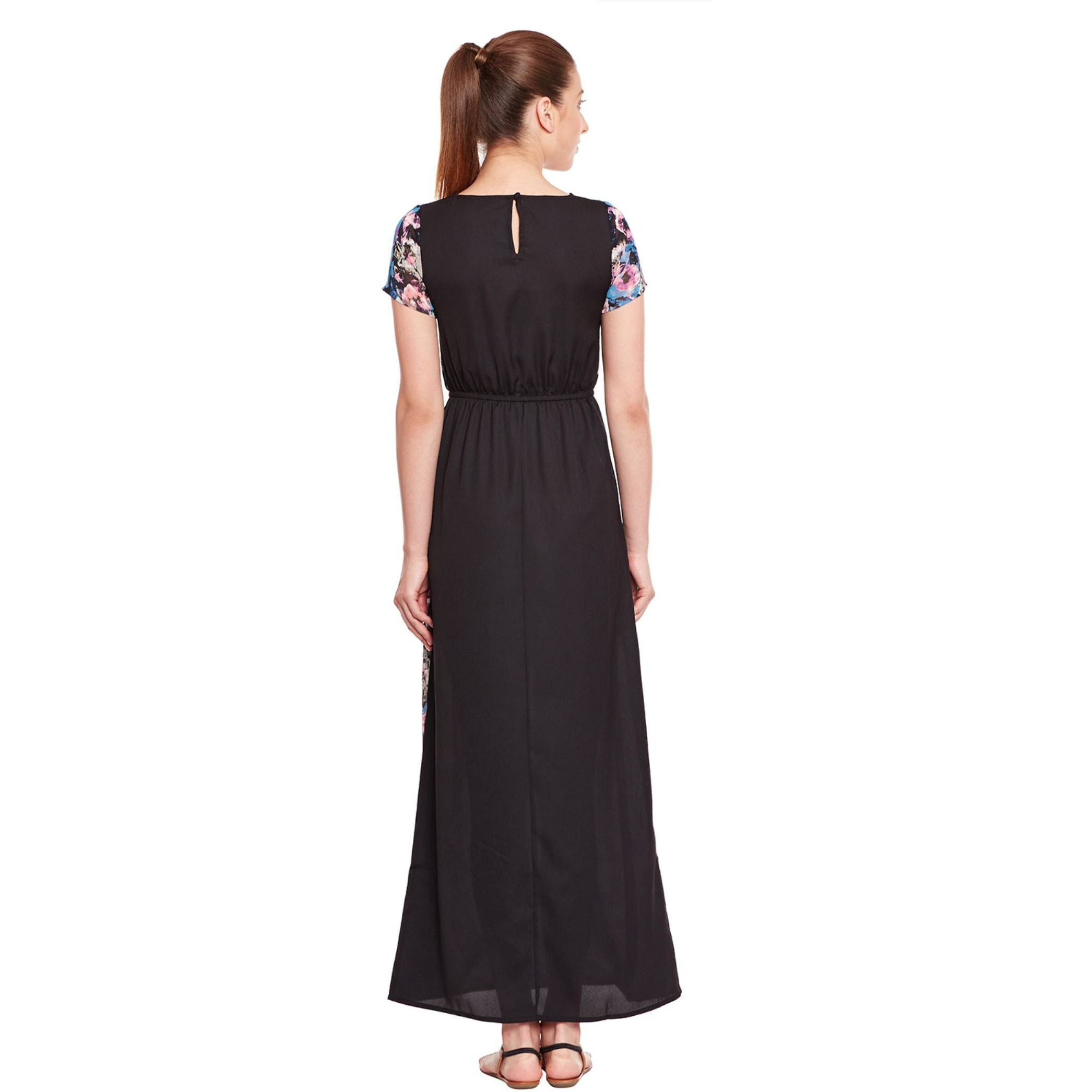 Black Casual Dress In Summer Cool Fabric (Size:L)