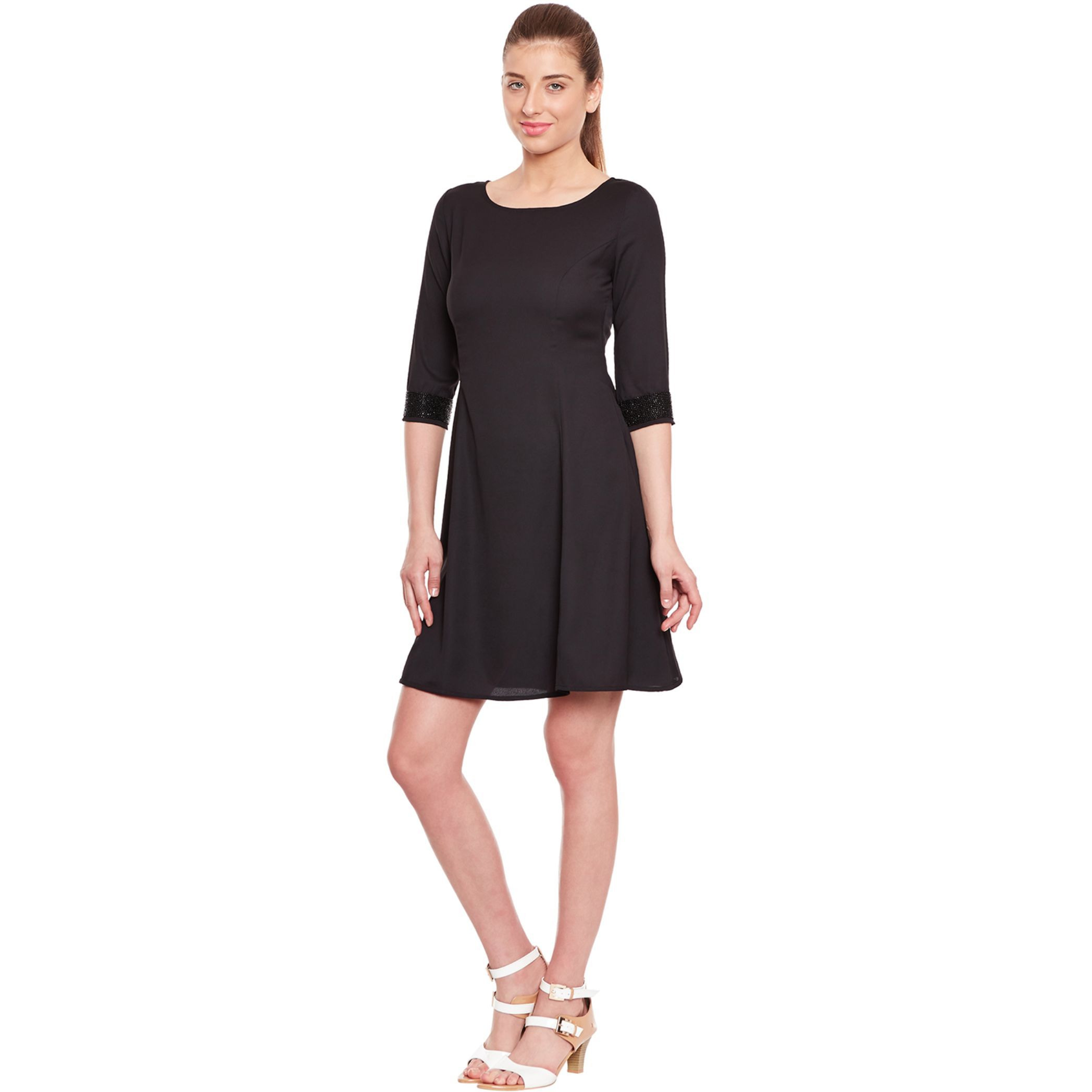 Black Dress With Emblishment At Cuff