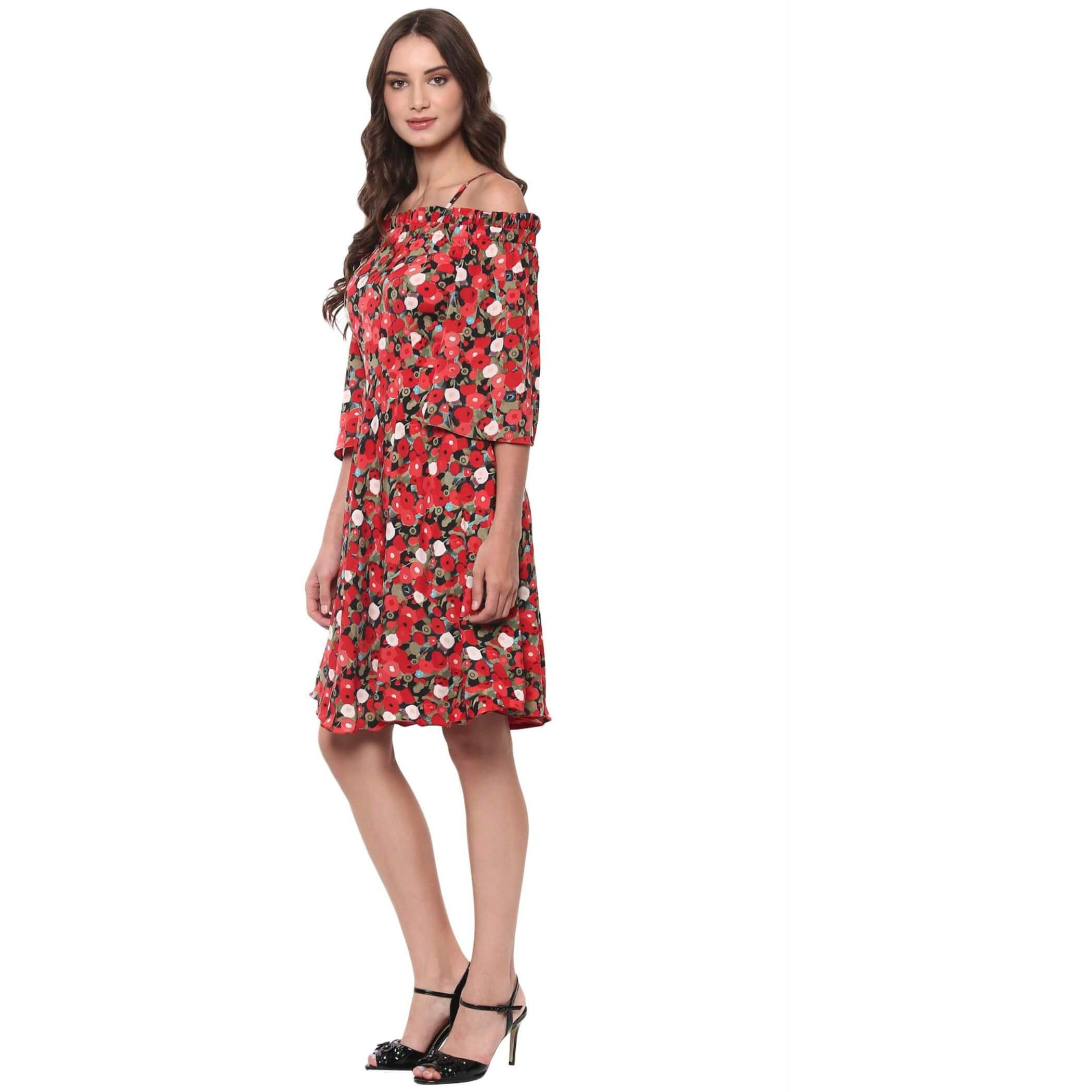 Overlay Panel Midi Dress With Assymetric Hemline (Size:M)