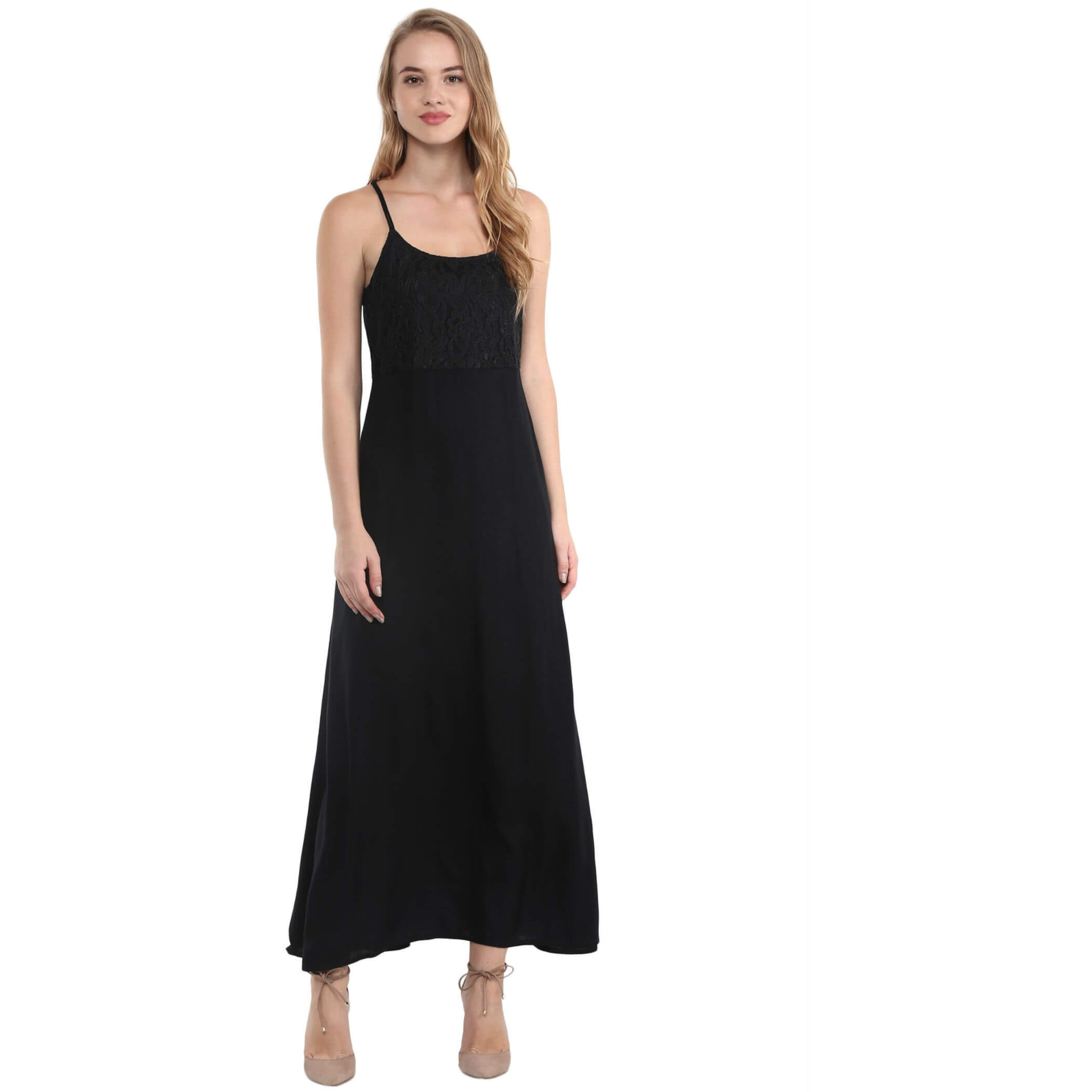 The Vanca Black Thin Strap Maxi Dress With Lace Top (Size:L)