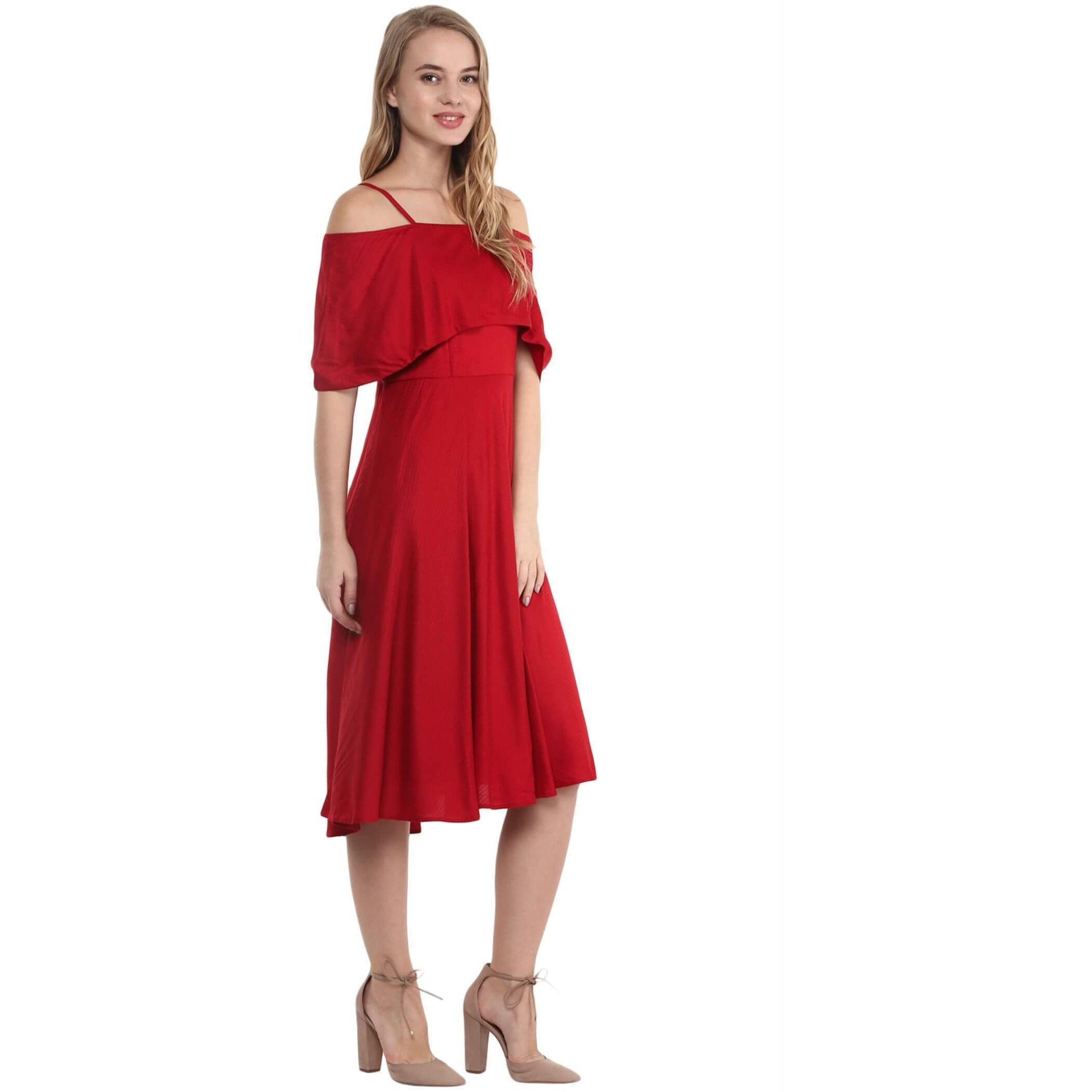 The Vanca Red Cold Shoulder Midi Dress With Shoulder Wrap (Size:XL)