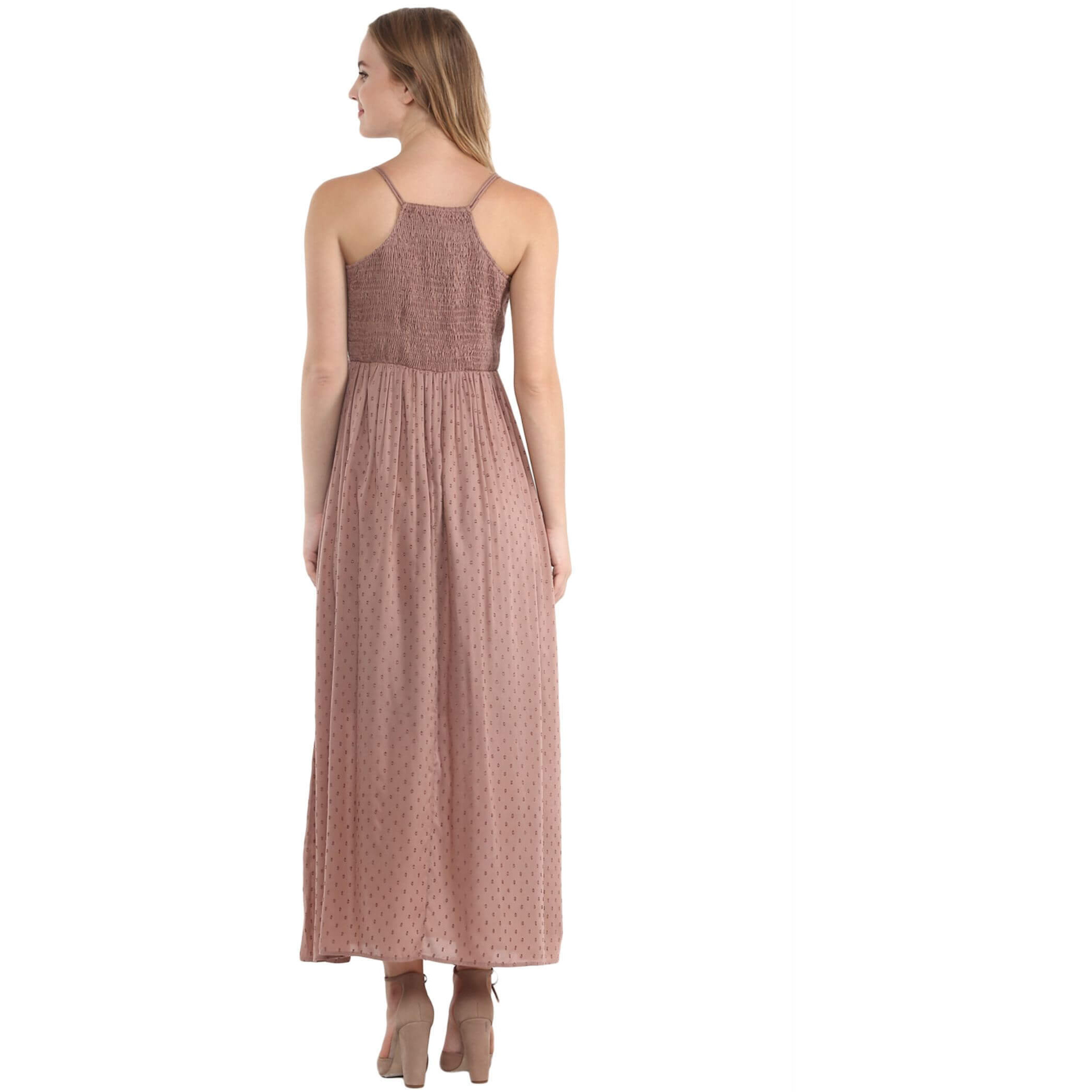 The Vanca Nude Thin Strap Maxi Dress With Lace Top