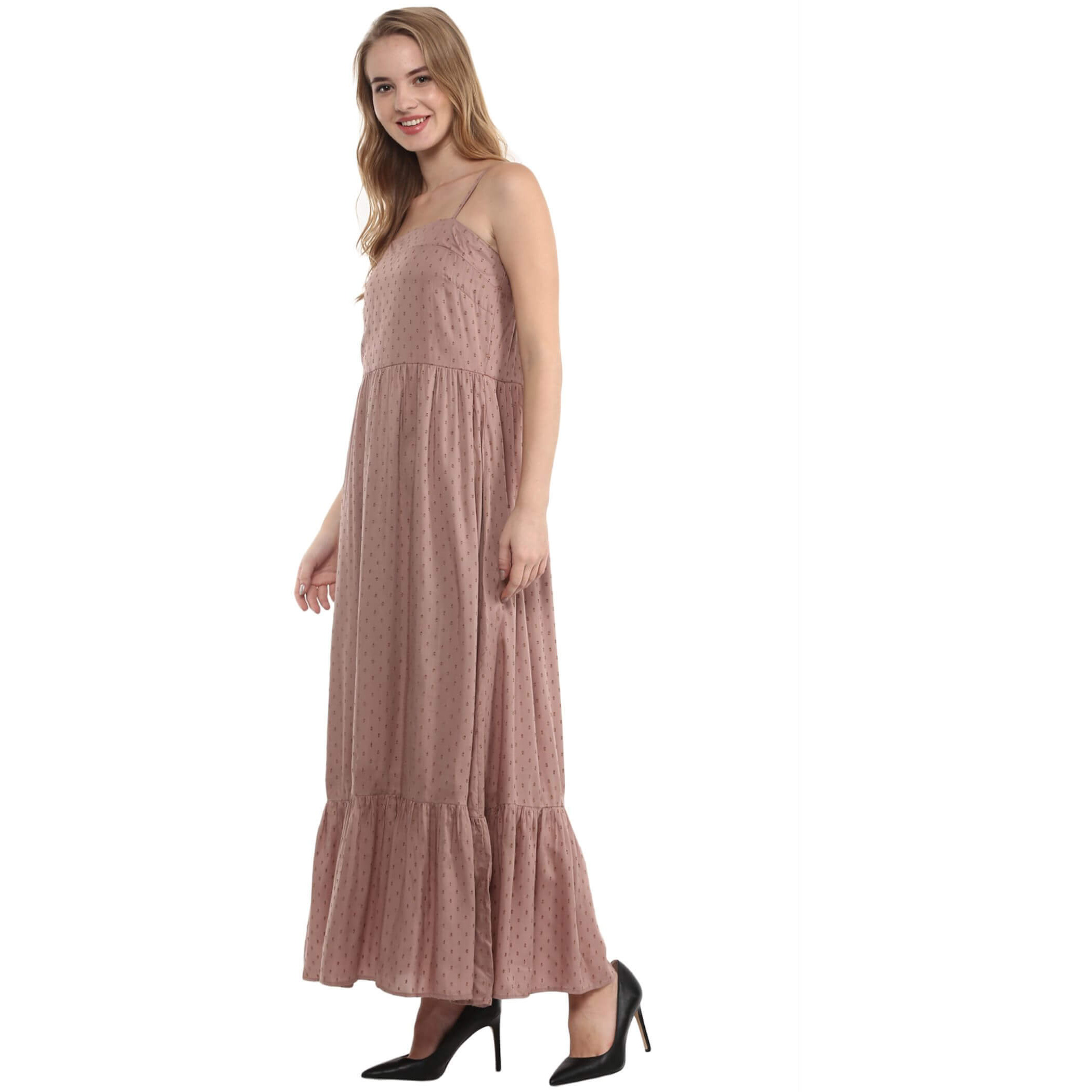 The Vanca Nude Thin Strap Maxi Dress With Multi Flare Panels (Size:XXL)