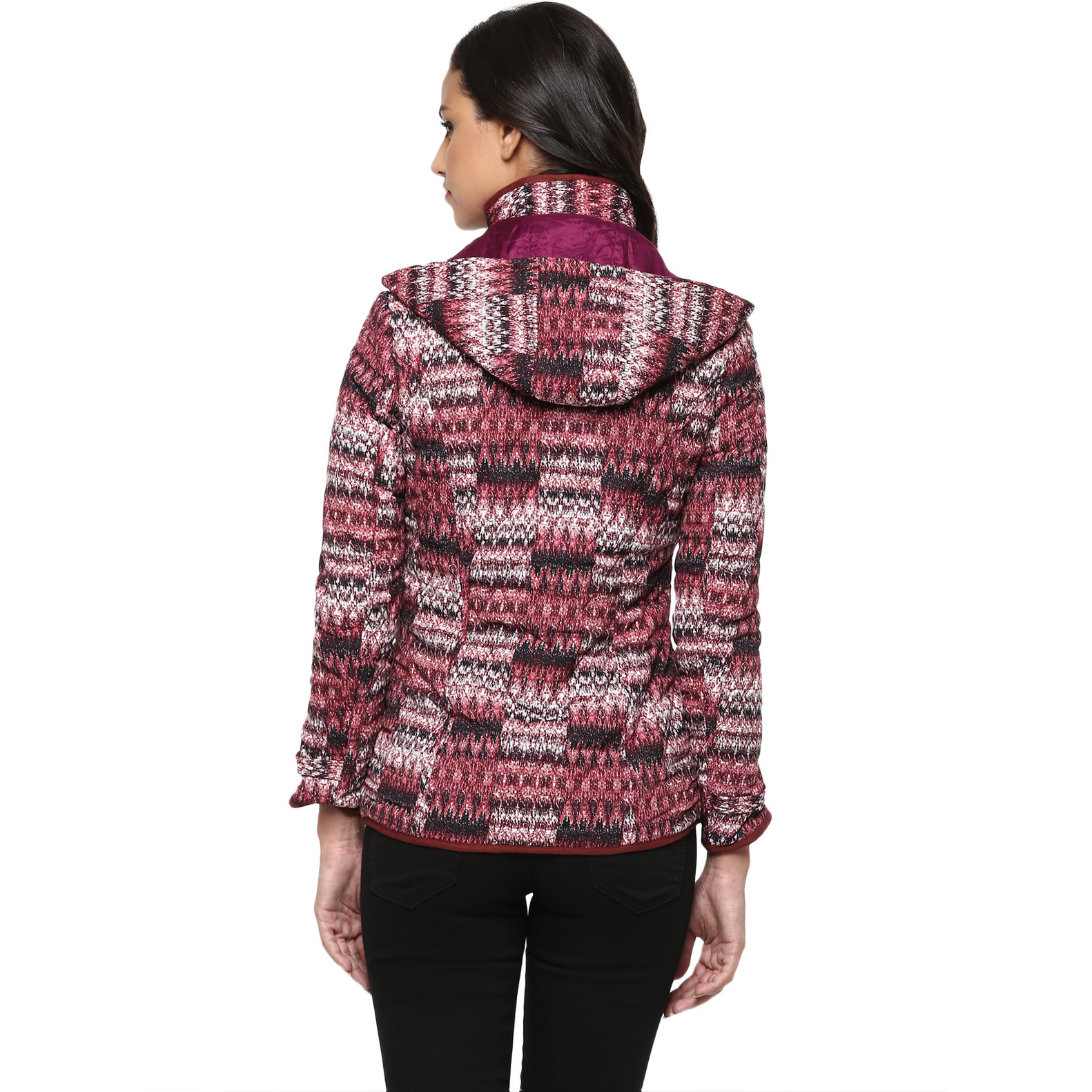 Printed Marsala Quilted Hooded Jacket (Size:XL)