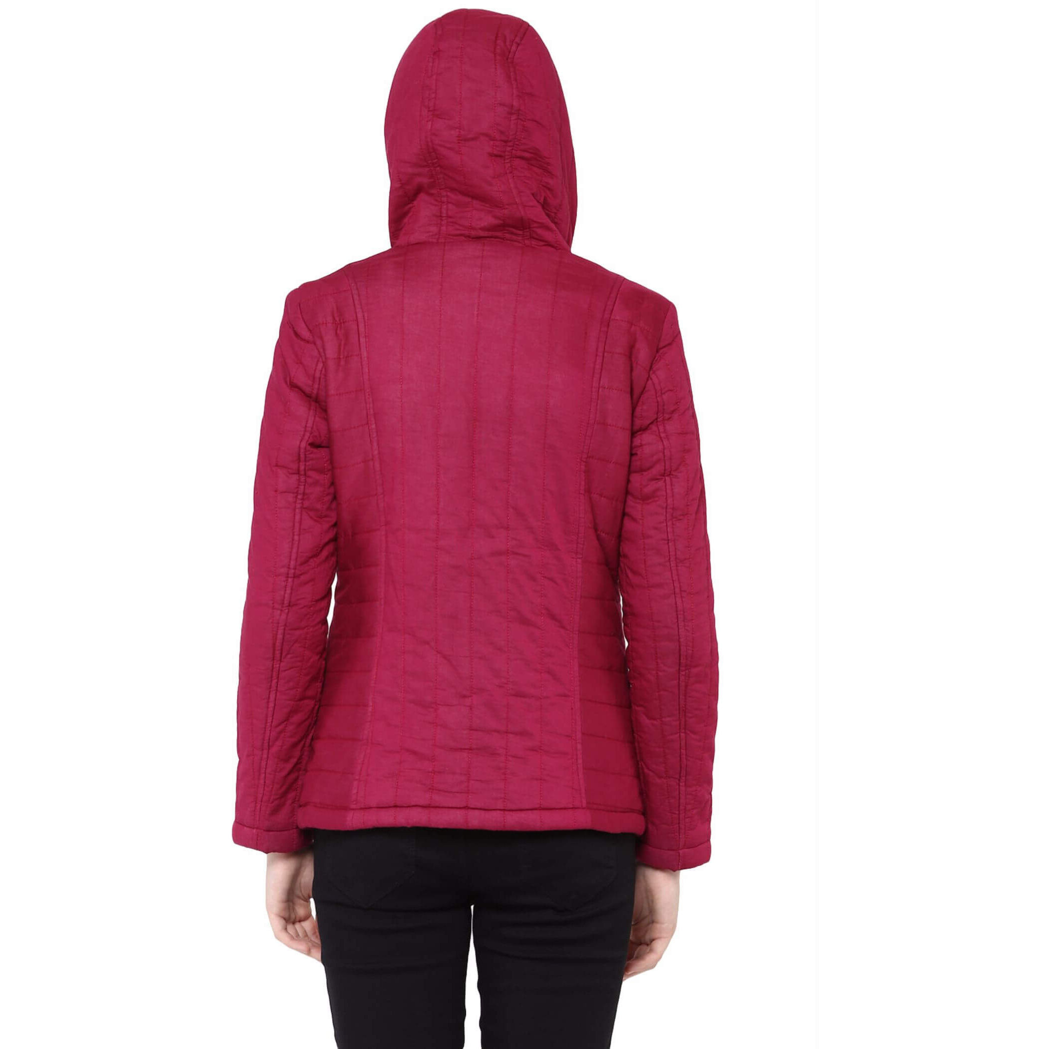 Front Zip Hooded Jacket In Solid Marsala Color With Patch Motifs On The Front (Size:S)
