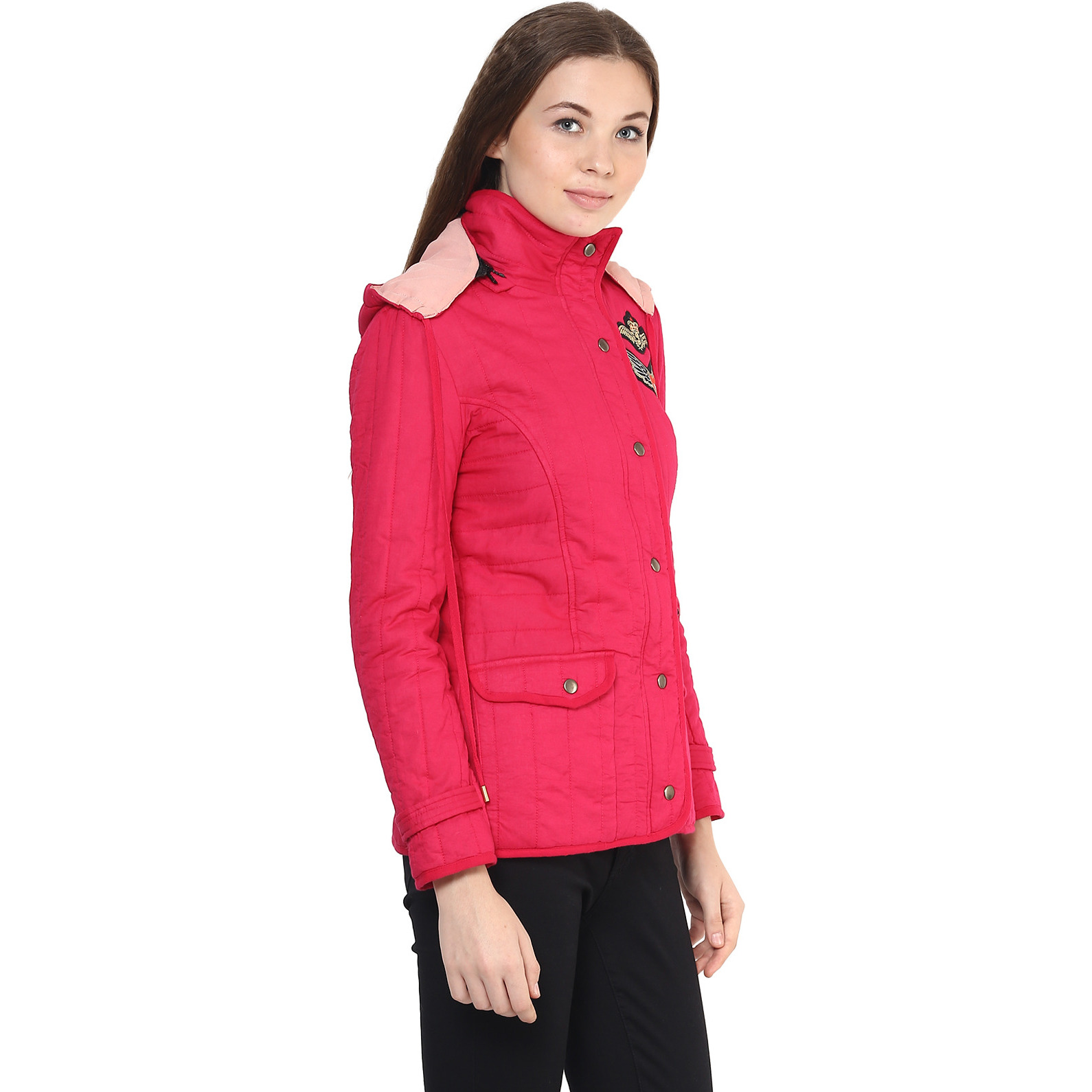 Front Zip Solid Fuchsia Quilted Hoodie Jacket With Patch Motifs On The Front (Size:S)