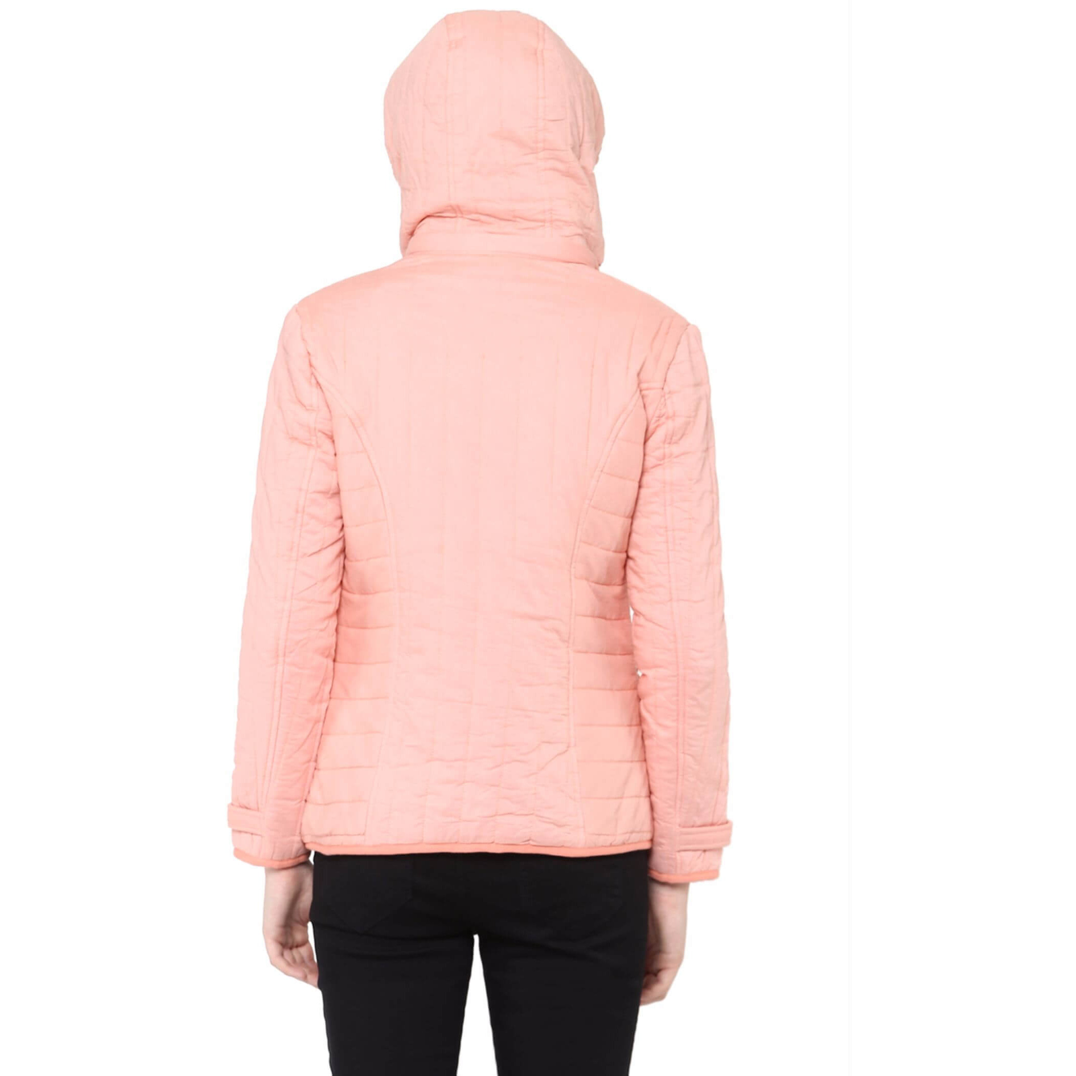 Front Zip Solid Peach Quilted Jacket With Flap Pockets And Patch Motifs On The Front