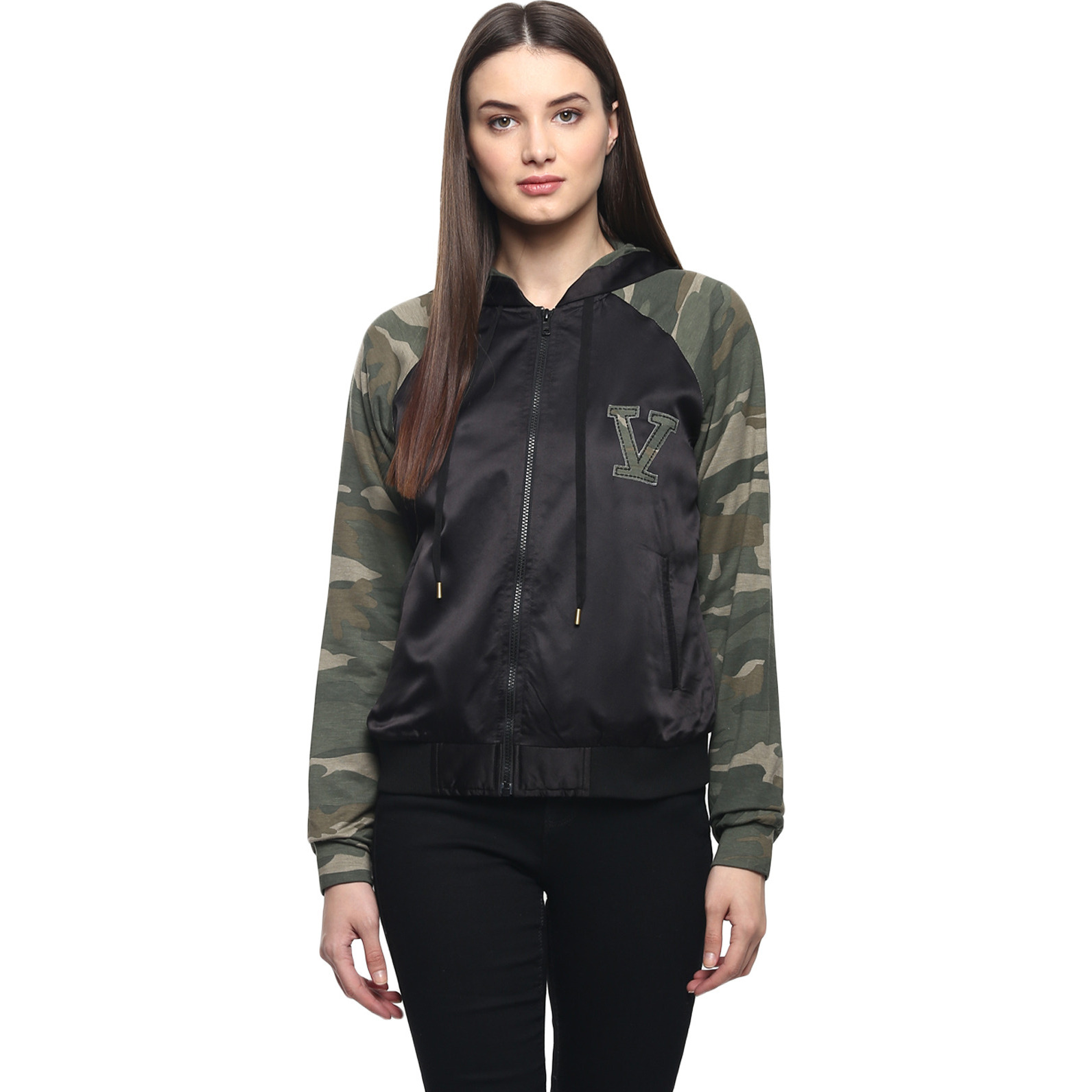 Black Bomber Jacket With Camoflage Sleeves And Hood