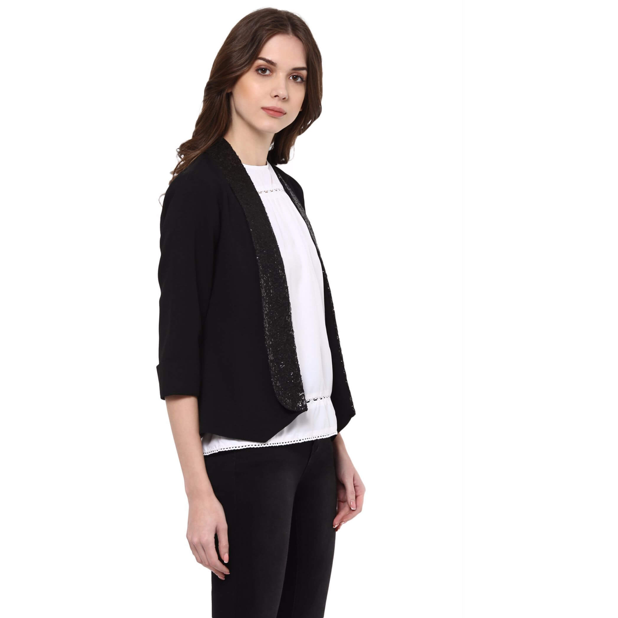 Black Partywear Jacket With Sequin Collar (Size:L)