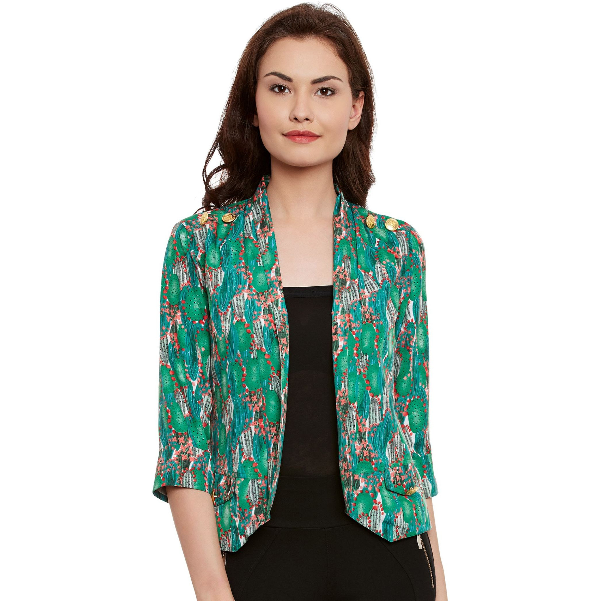 The Vanca Green Printed Shrug (Size:XL)