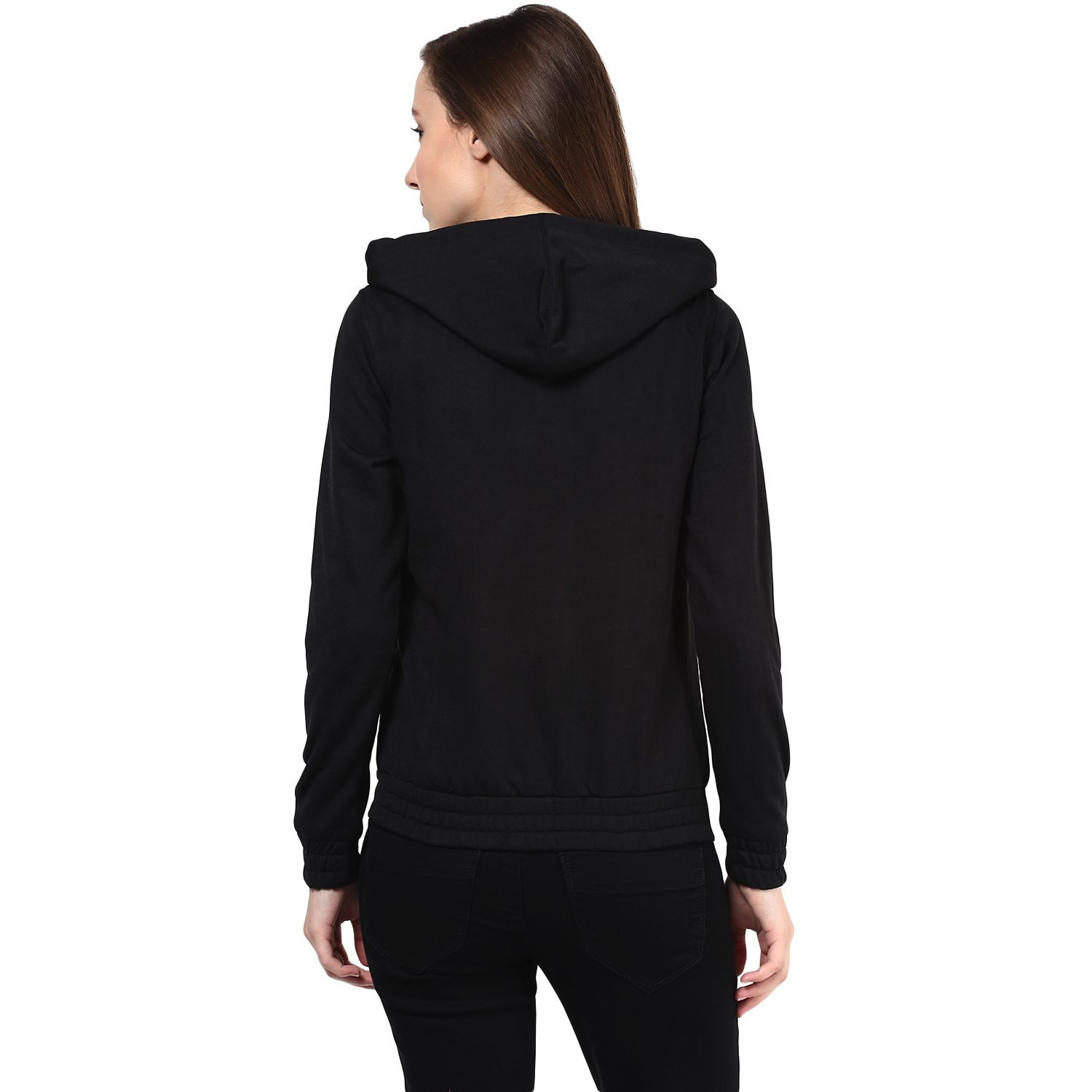 Hooded Sweatshirt In Black Color With Distressed Print (Size:M)