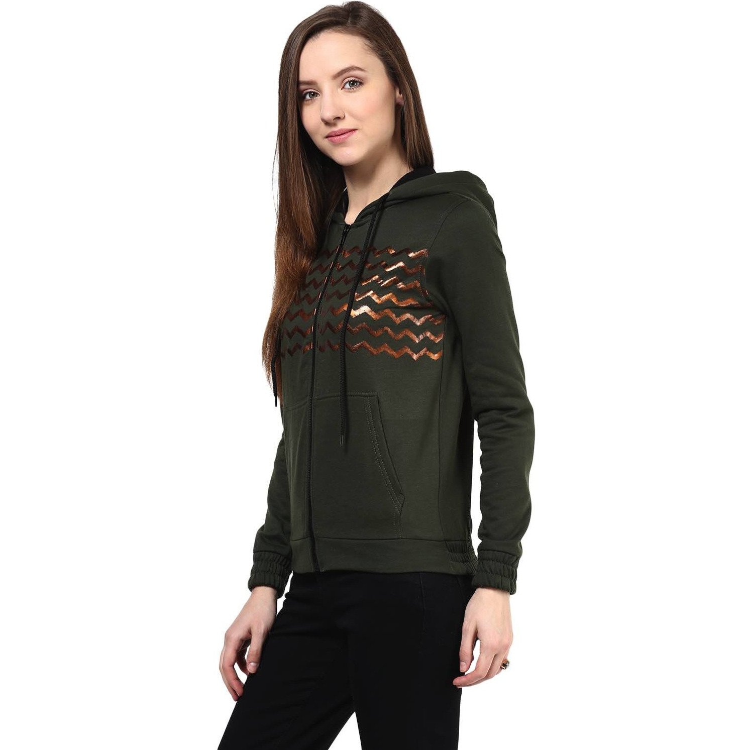 Hooded Sweatshirt In Green Color With Distressed Print (Size:S)