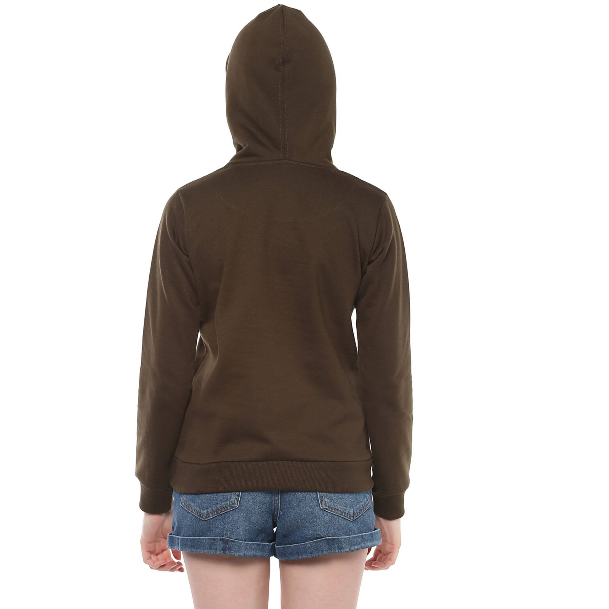 Fur Lined Hooded Sweatshirt With Chest Print And Front Pockets