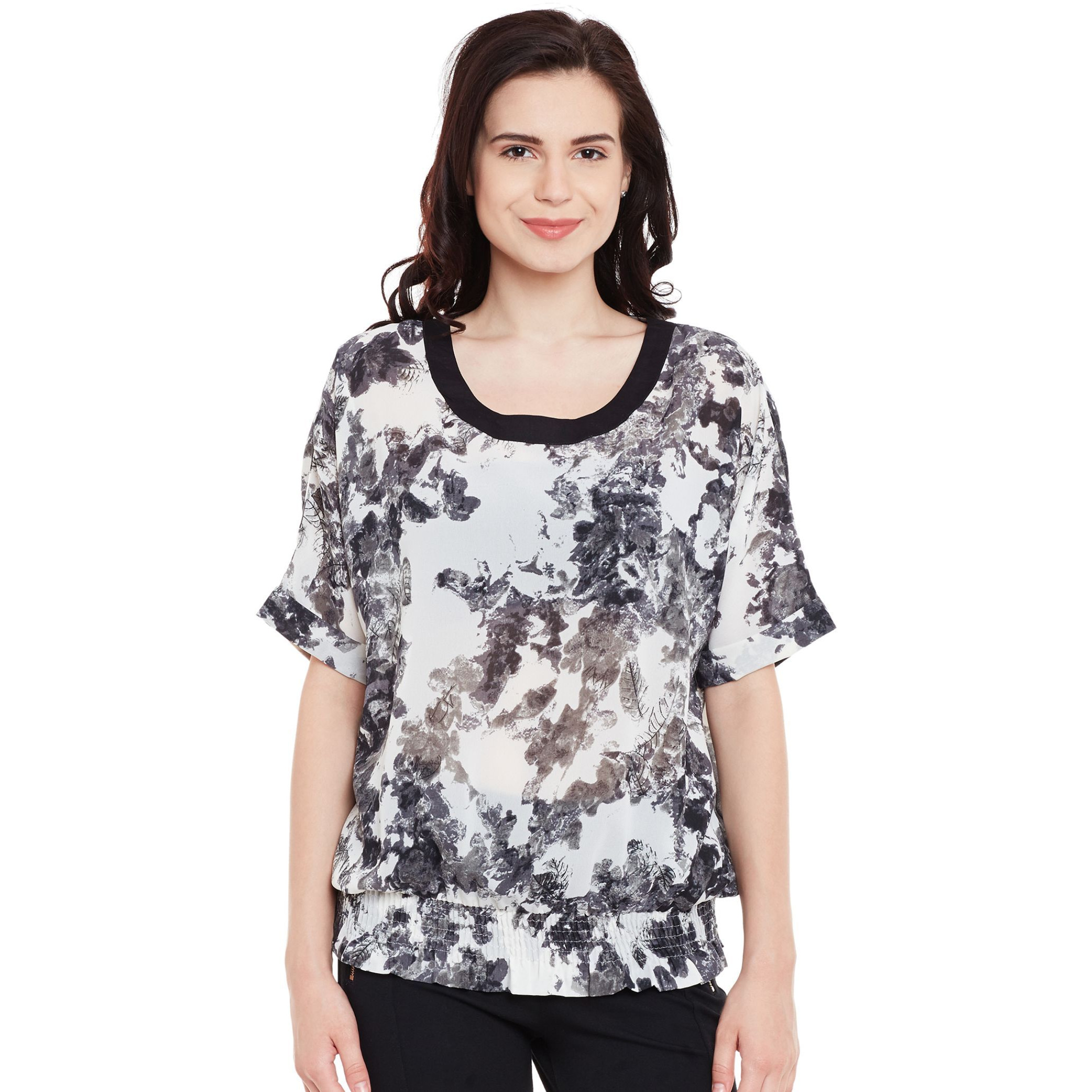 Casual Top With Flared Sleeve And Ruffles At Front (Size:XL)