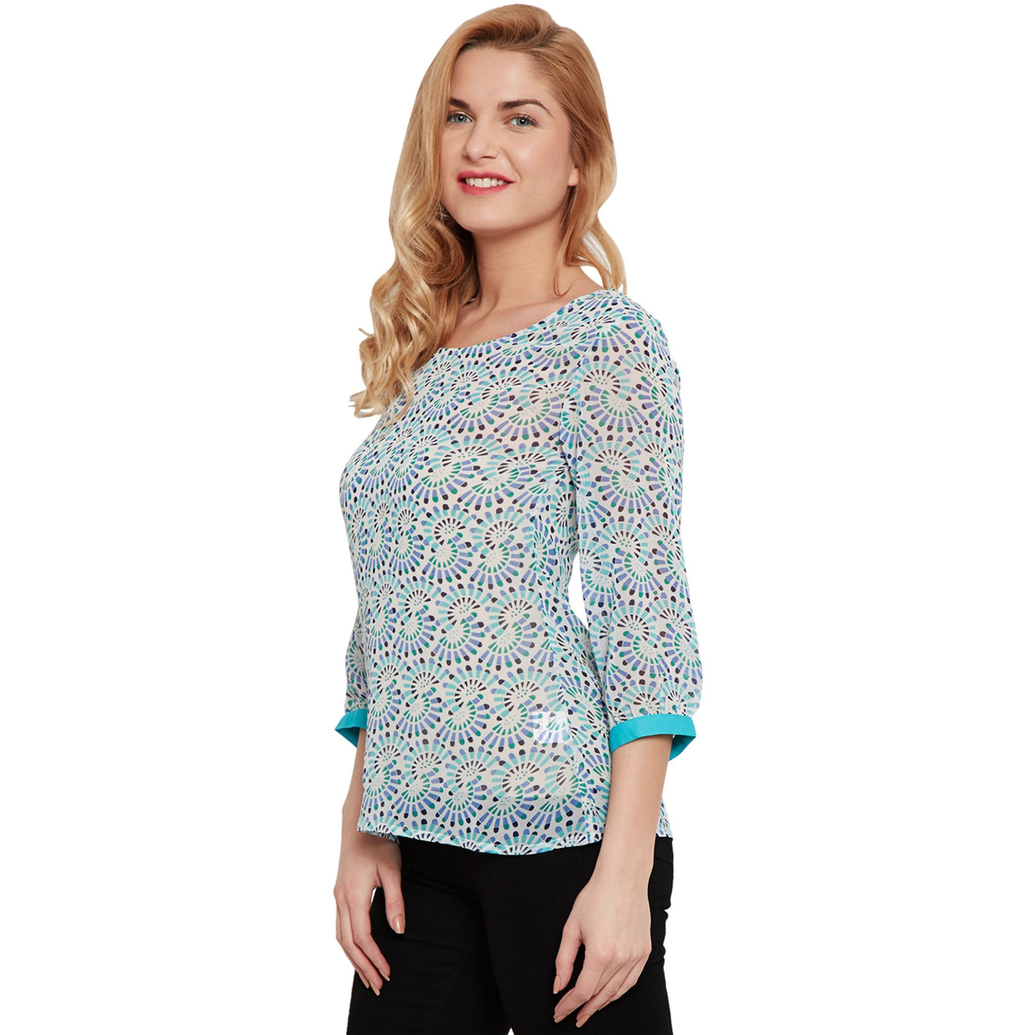 Kaftan Style Top In Printed Blue Color With Solid Front Back Yoke (Size:M)