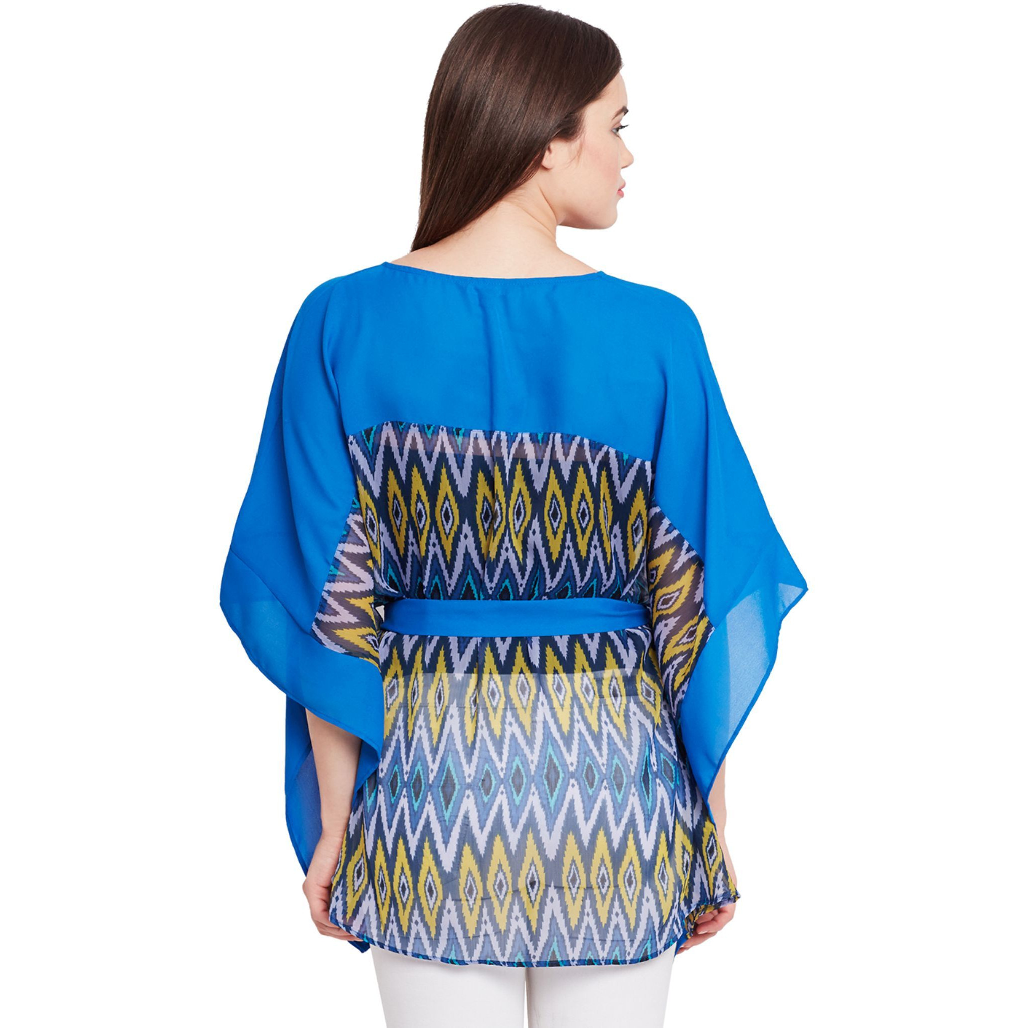 Top In Blue Print With Front Placket Detail