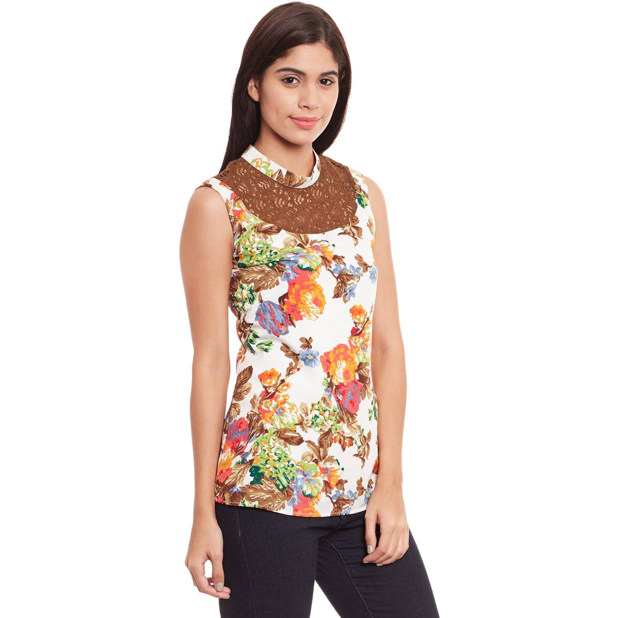 Causal Top With Lace V Neckline And 3/4Th Sleeve (Size:S)
