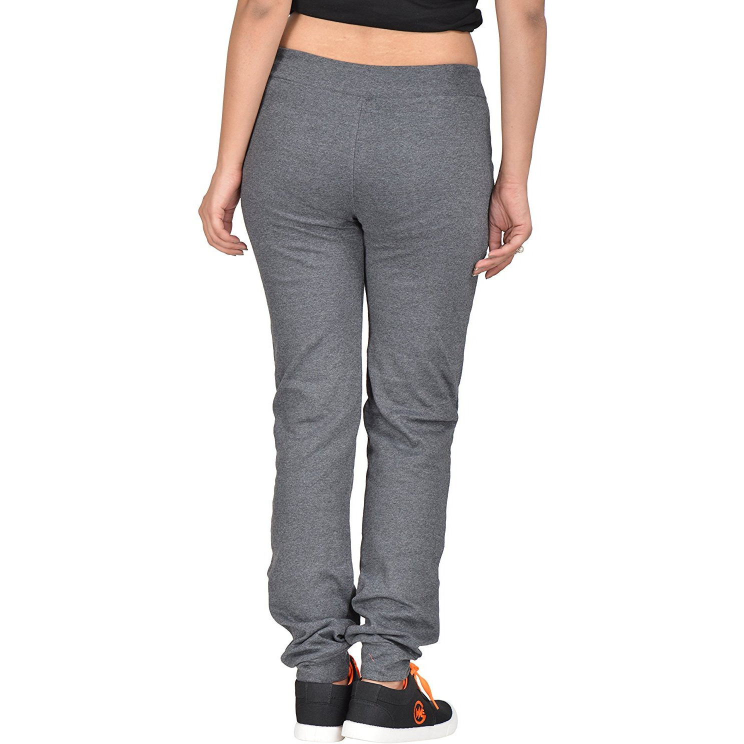Fashion Women Cotton Hosiery Charcoal Grey Plain Melange Joggers Pants (Size-L)