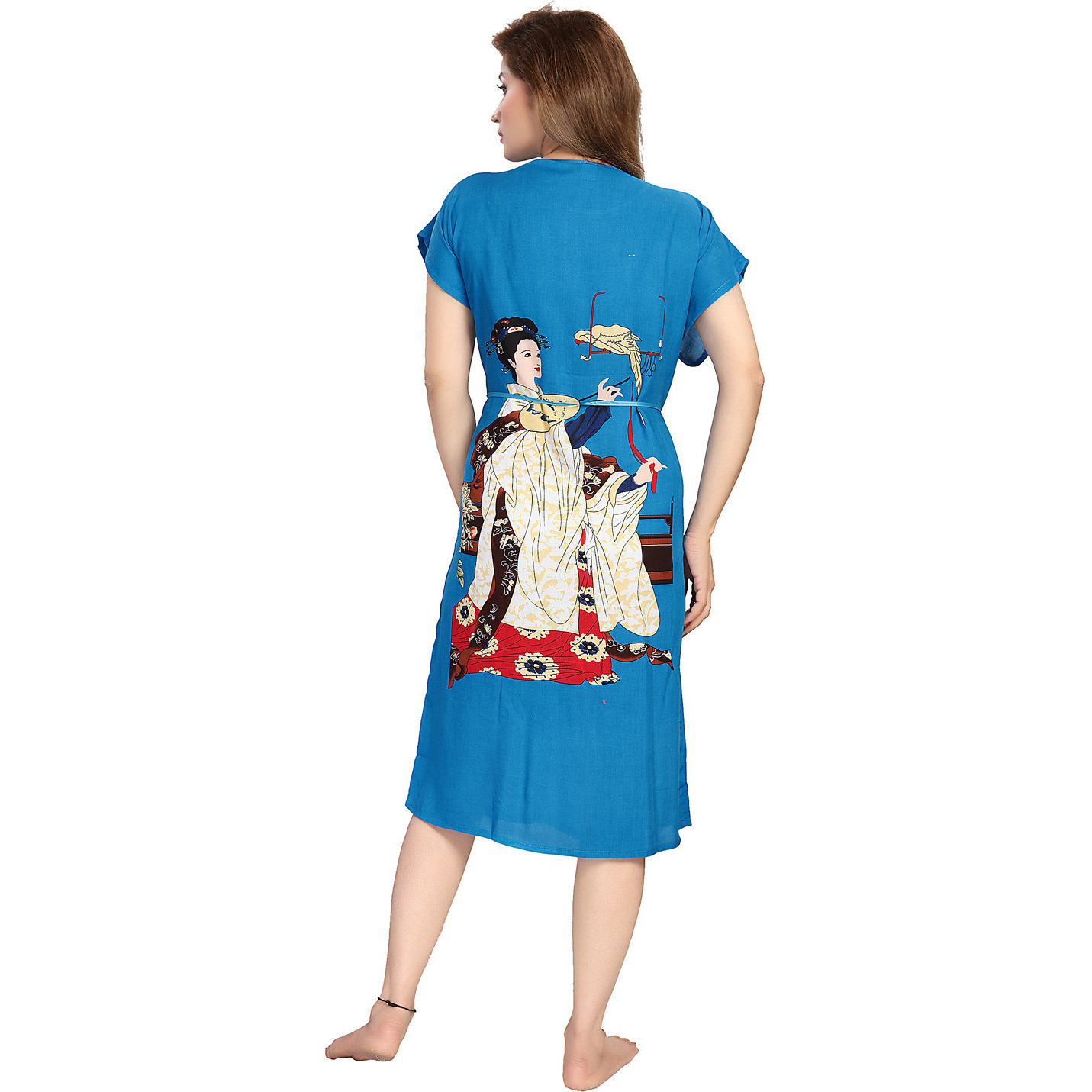 Be You Cotton Rayon Blue Character Printed Kaftan Nighty for Women