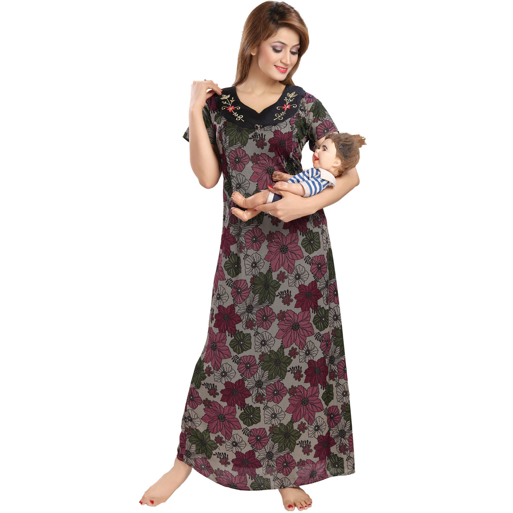 Buy Online Be You Serena Satin Multicolor Floral Feeding / Maternity ...