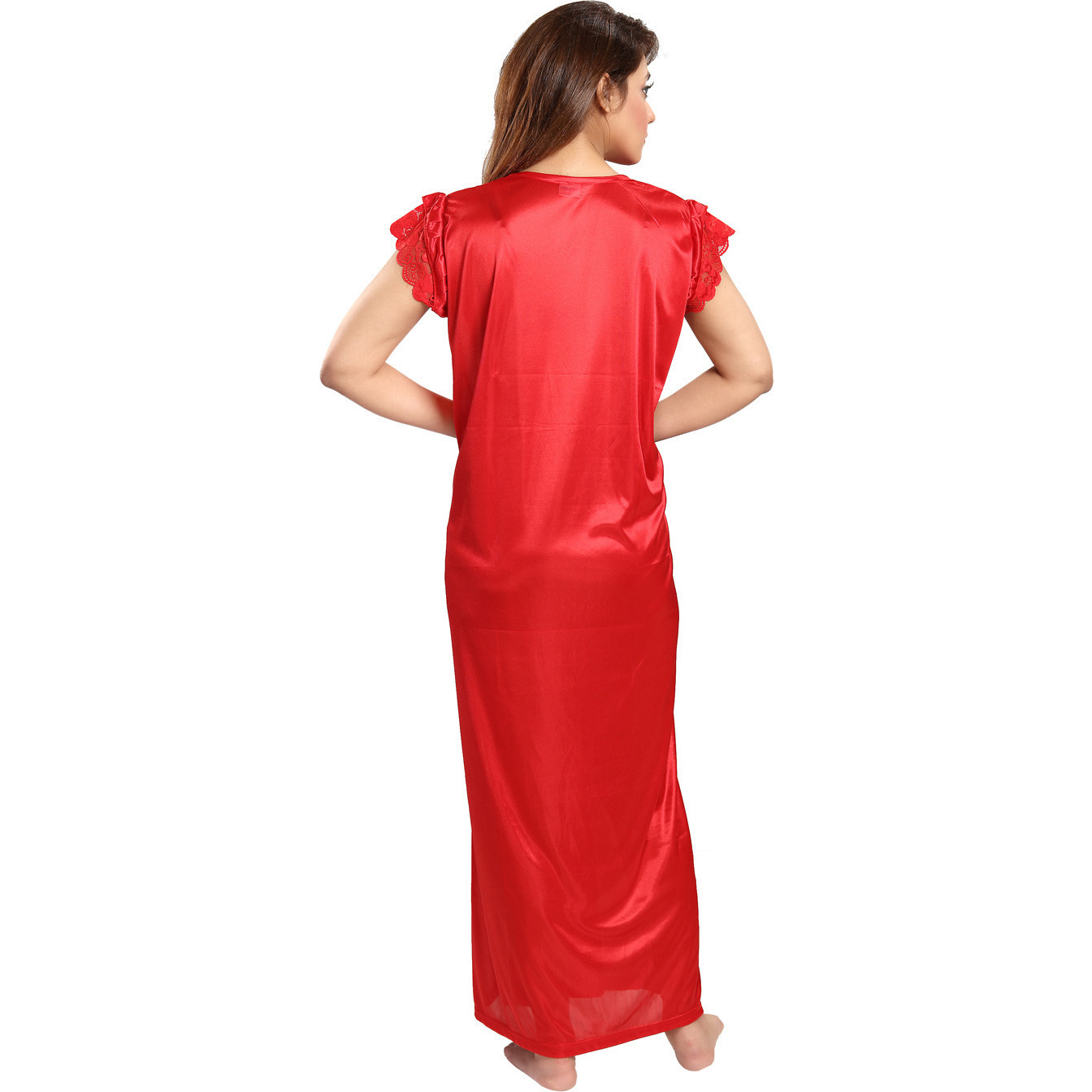 Be You Serena Satin Red-Blue Women Nightgowns Combo Pack of 2