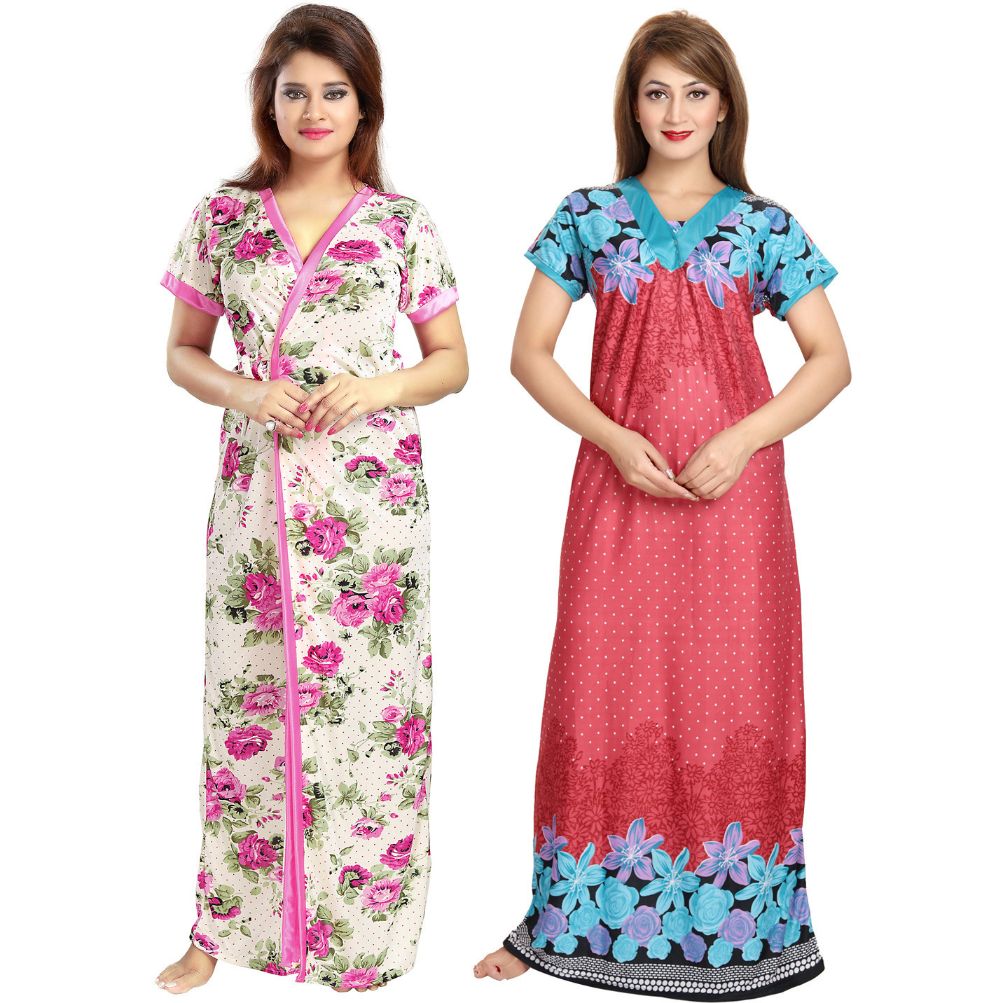 Buy Online Be You Serena Satin Red-Pink Women Nightgowns Combo Pack ... 66c038ca7d