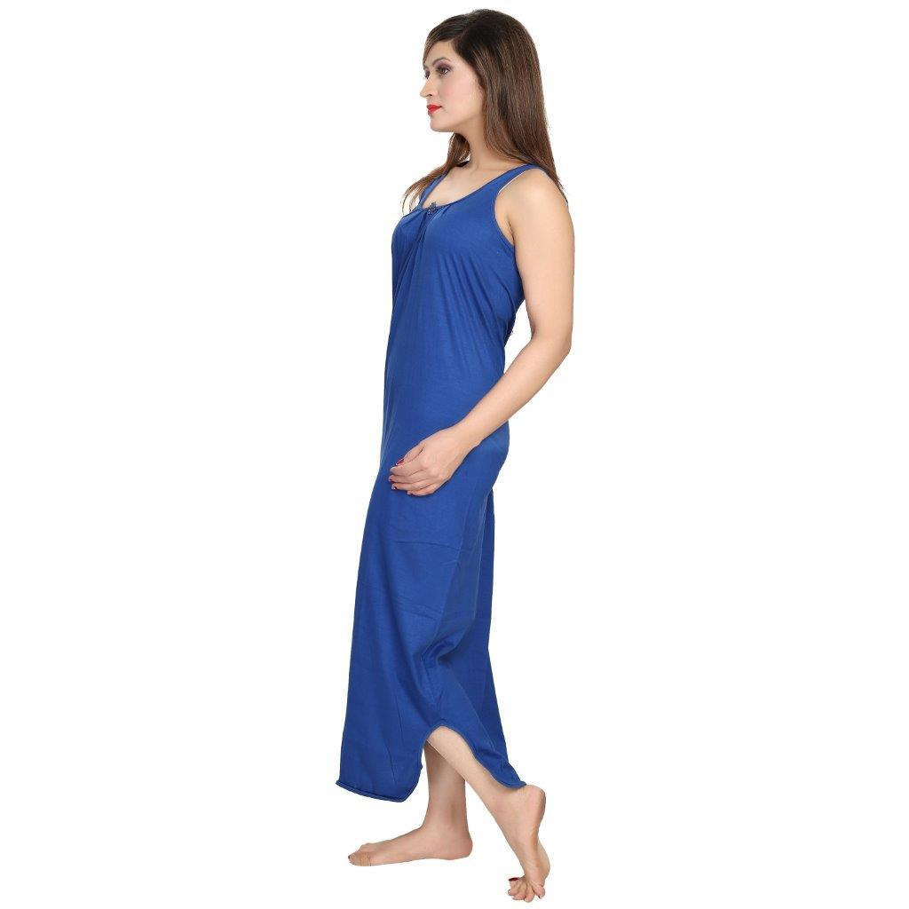 Be You Cotton Blue-Green Women Slip gown Combo Pack of 2
