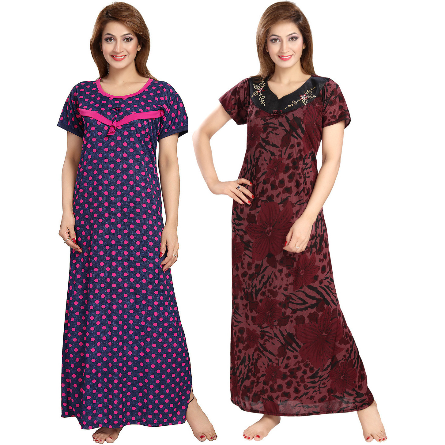 Buy Online Be You Serena Satin Pink-Maroon Women Maternity Gowns ...