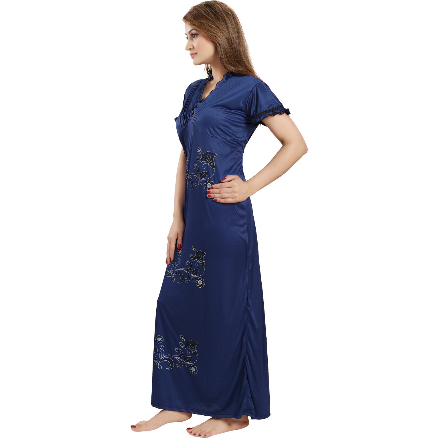 Be You Serena Satin Brown-Blue Women Nightgowns Combo Pack of 2