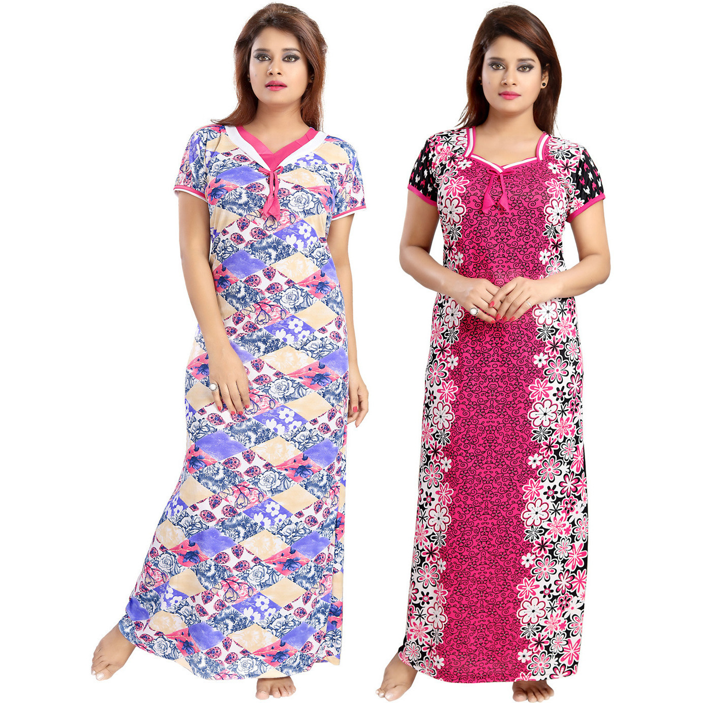 Buy Online Be You Serena Satin Blue-Pink Women Nightgowns Combo Pack ...