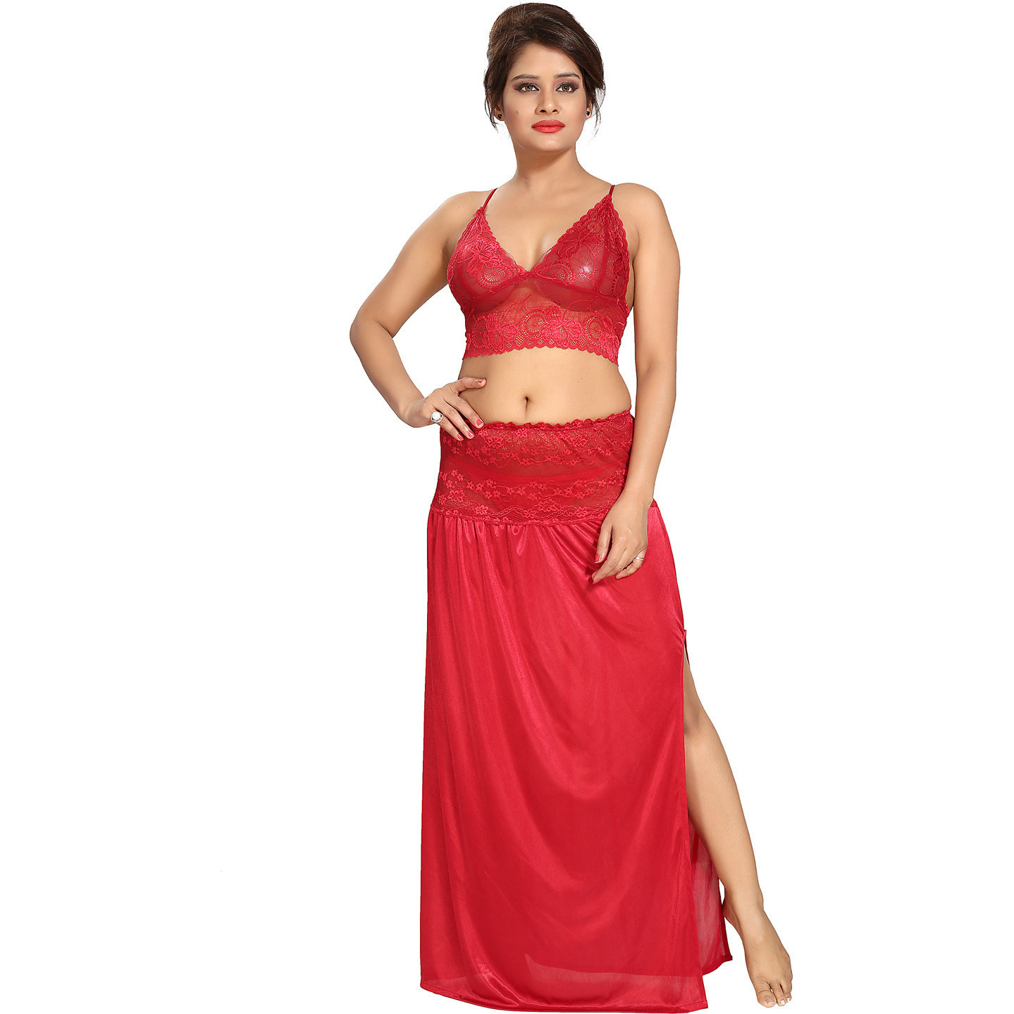 Be You Satin Red Lacey Crop top & Skirt Nighty Set for Women